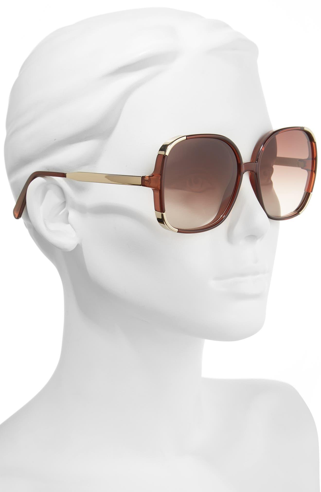 Myrte 61mm Gradient Lens Square Sunglasses,                             Alternate thumbnail 2, color,                             BROWN
