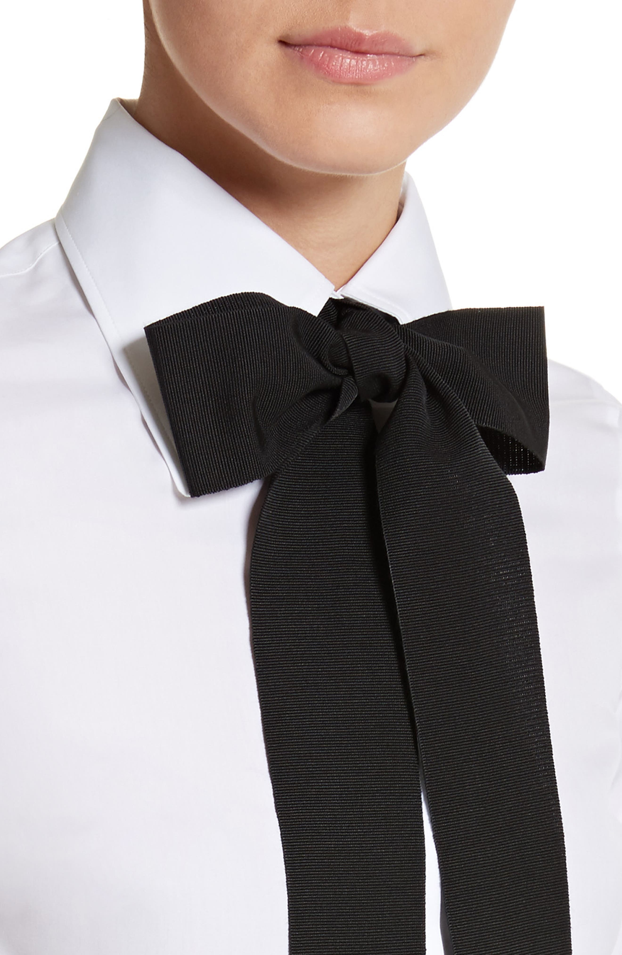 Cotton Poplin Blouse with Bow,                             Alternate thumbnail 4, color,                             101