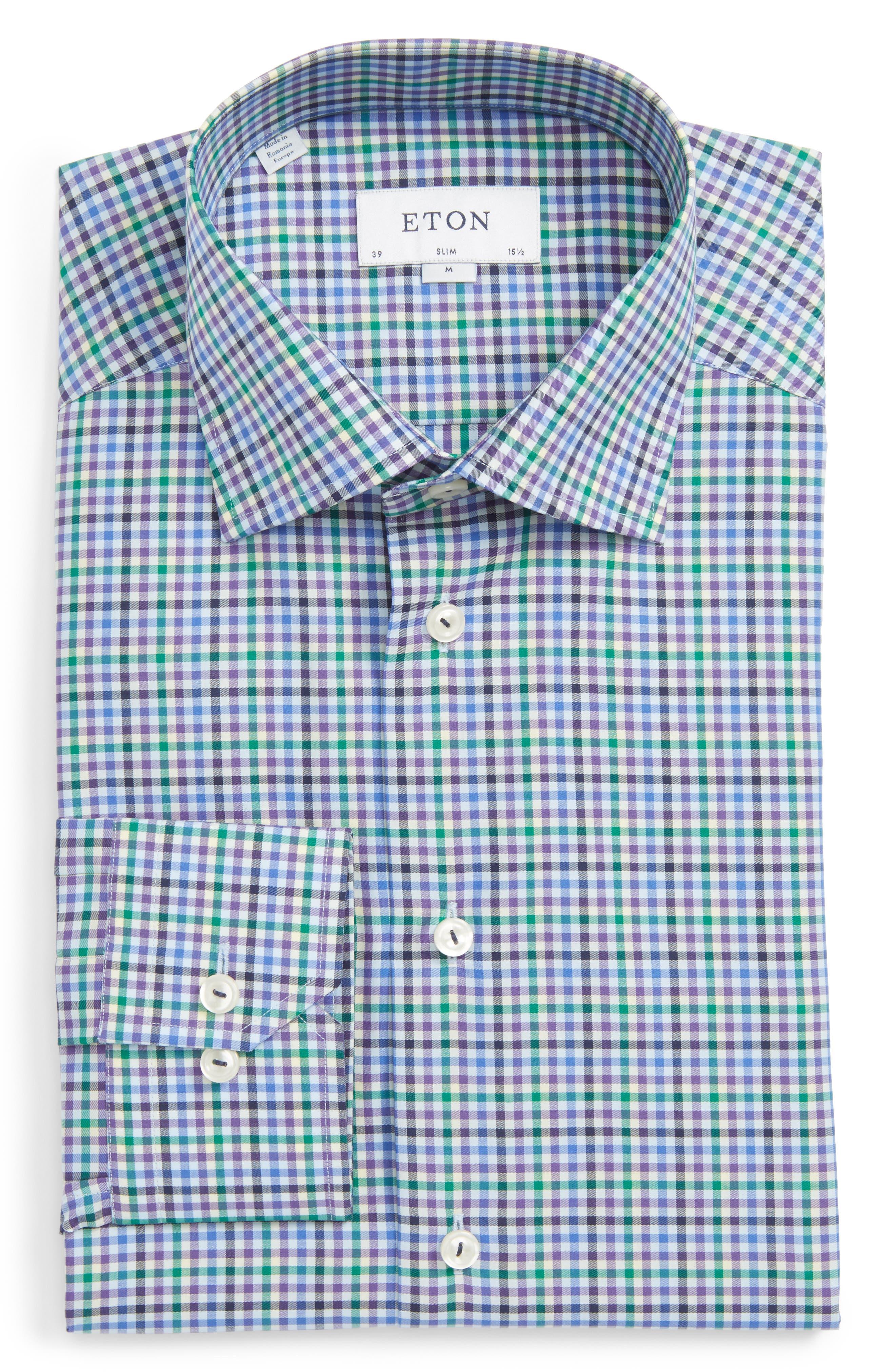 Slim Fit Check Dress Shirt,                             Main thumbnail 1, color,