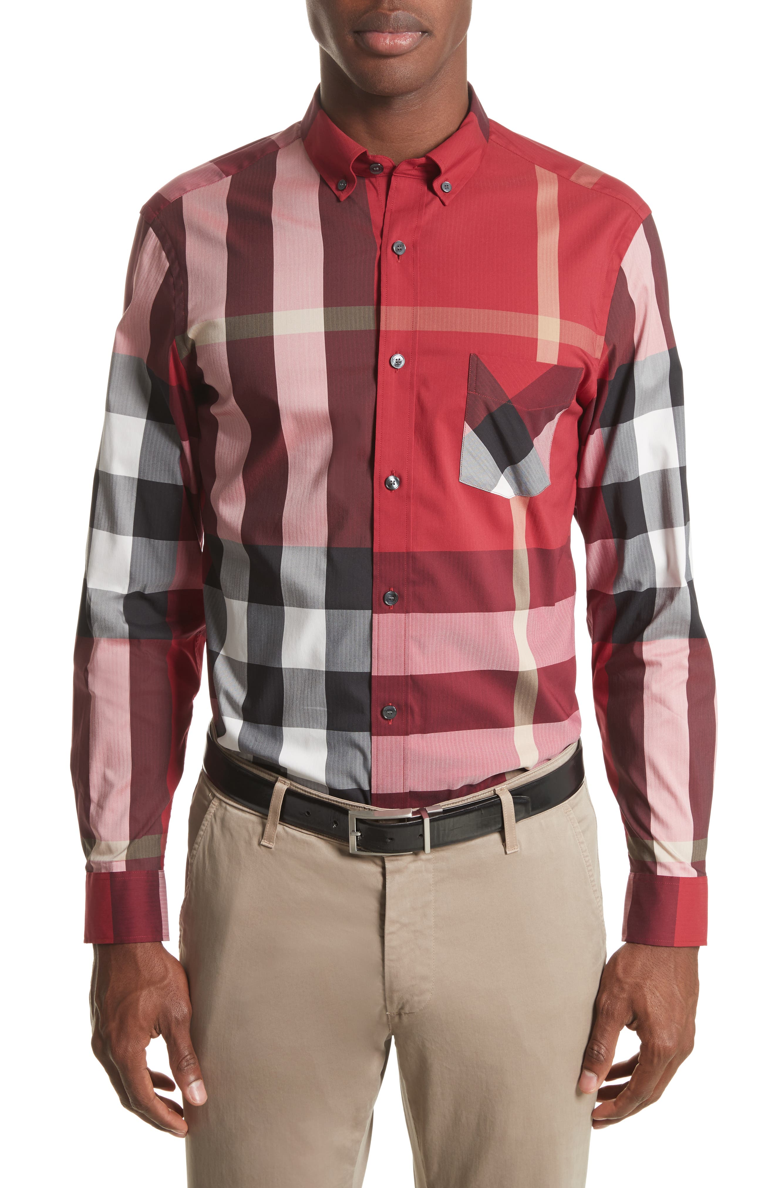 Thornaby Slim Fit Plaid Sportshirt,                             Main thumbnail 1, color,                             PARADE RED