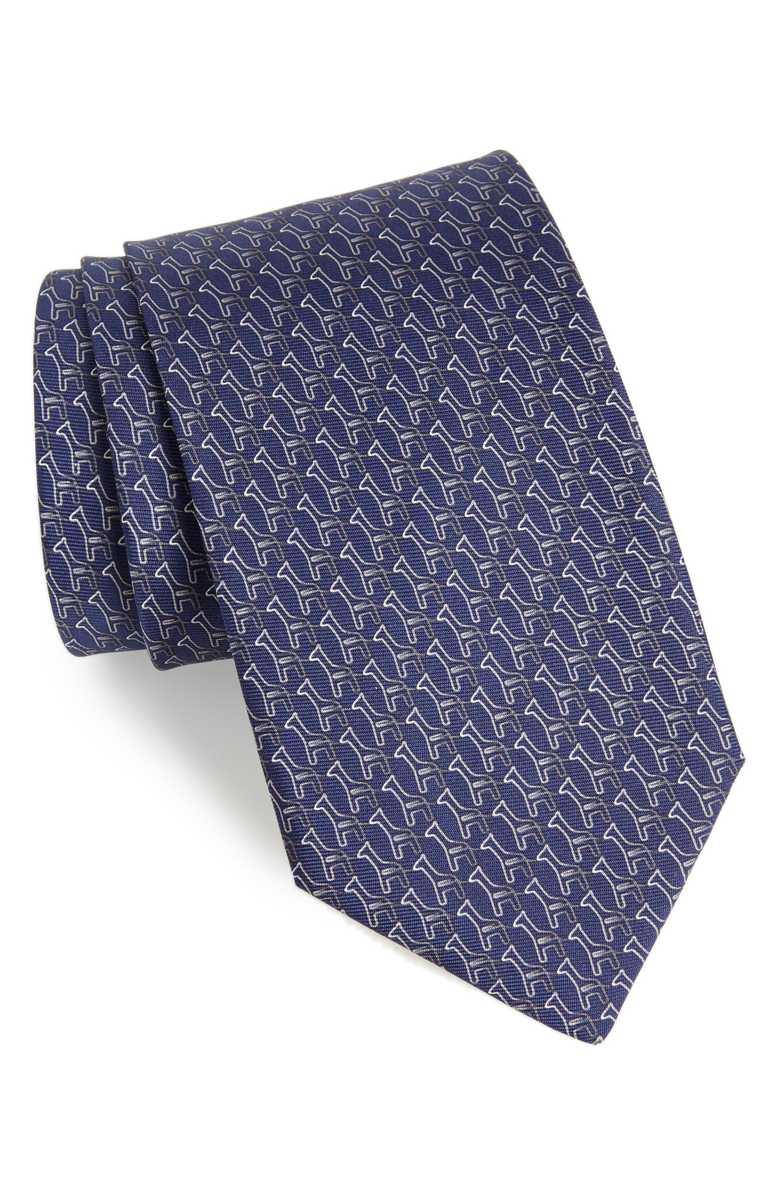 Fiona Print Silk Tie,                         Main,                         color, NAVY