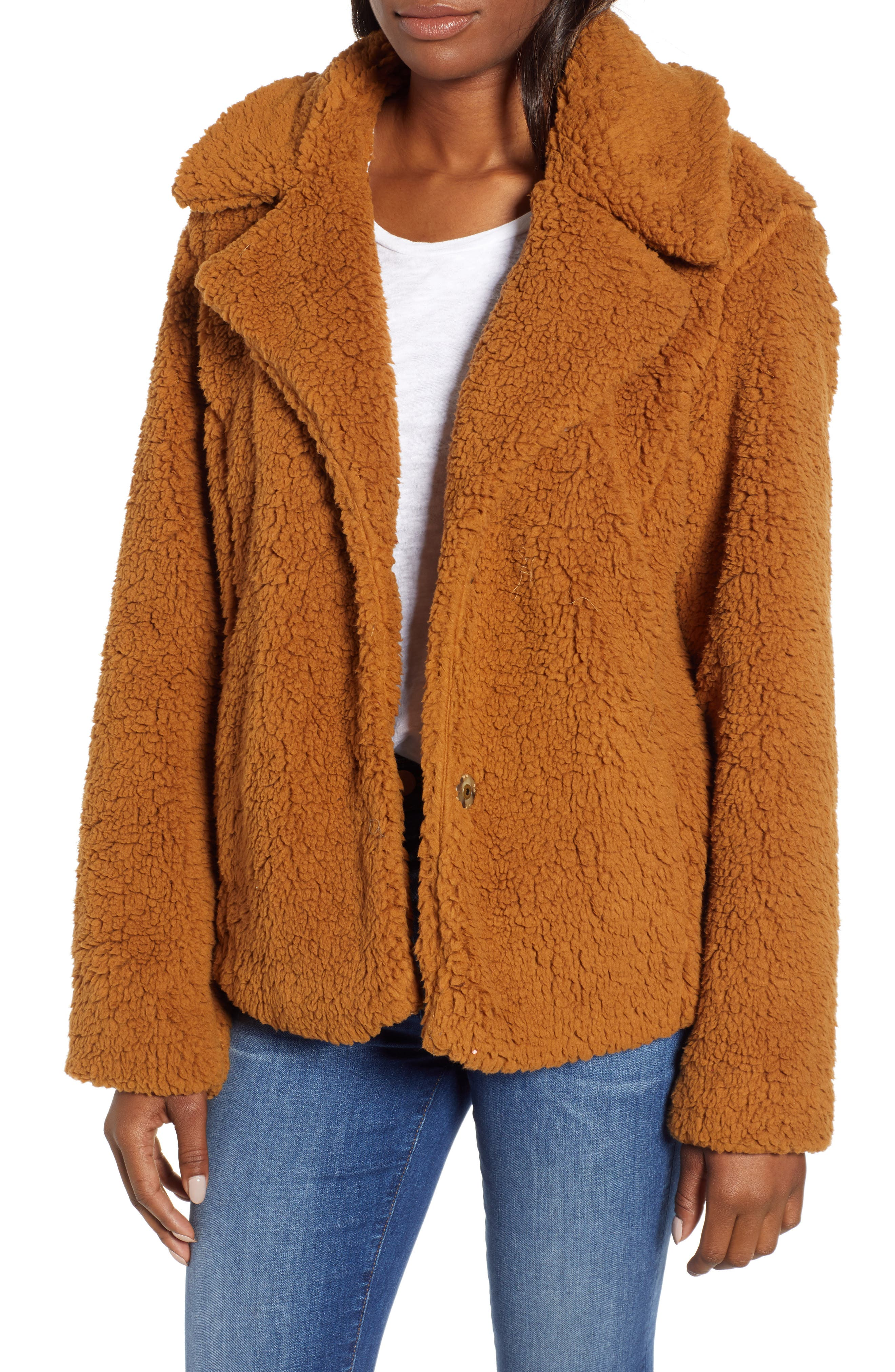 Faux Shearling Jacket,                         Main,                         color, BROWN SADDLE