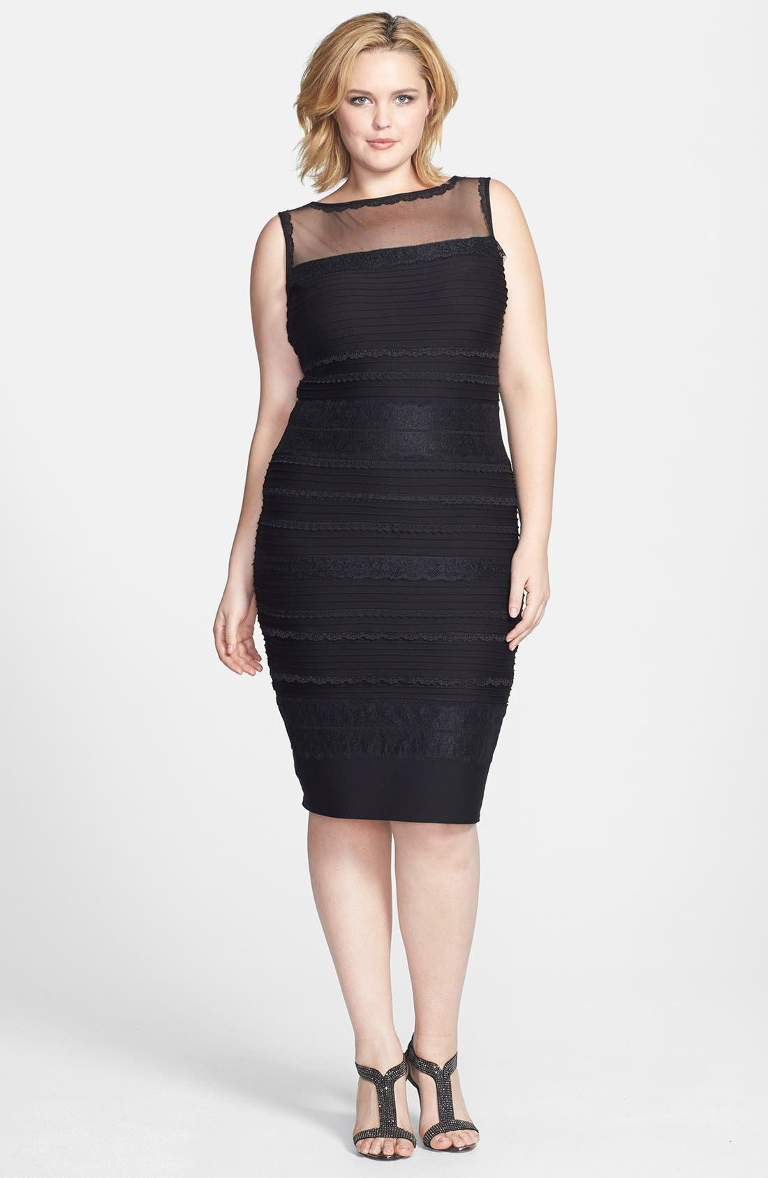 Lace Trim Banded Sheath Dress,                             Main thumbnail 1, color,                             001