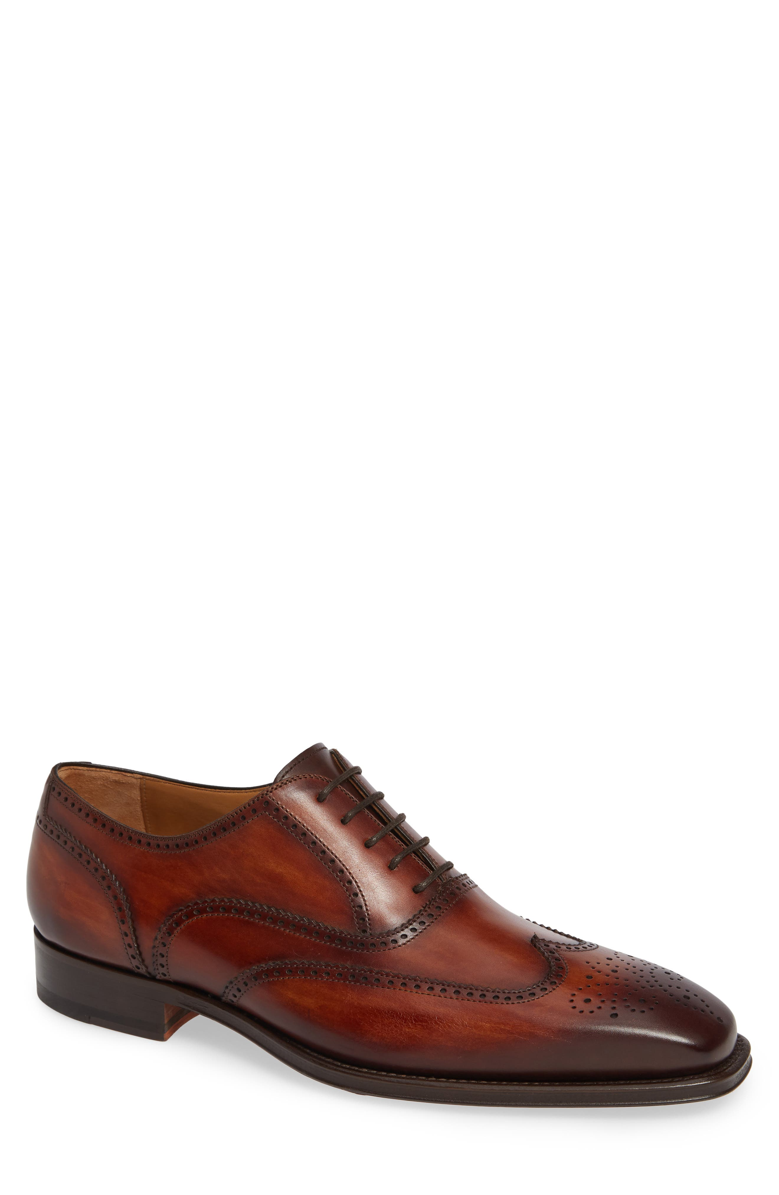 Ledger Wingtip,                             Main thumbnail 1, color,                             COGNAC LEATHER