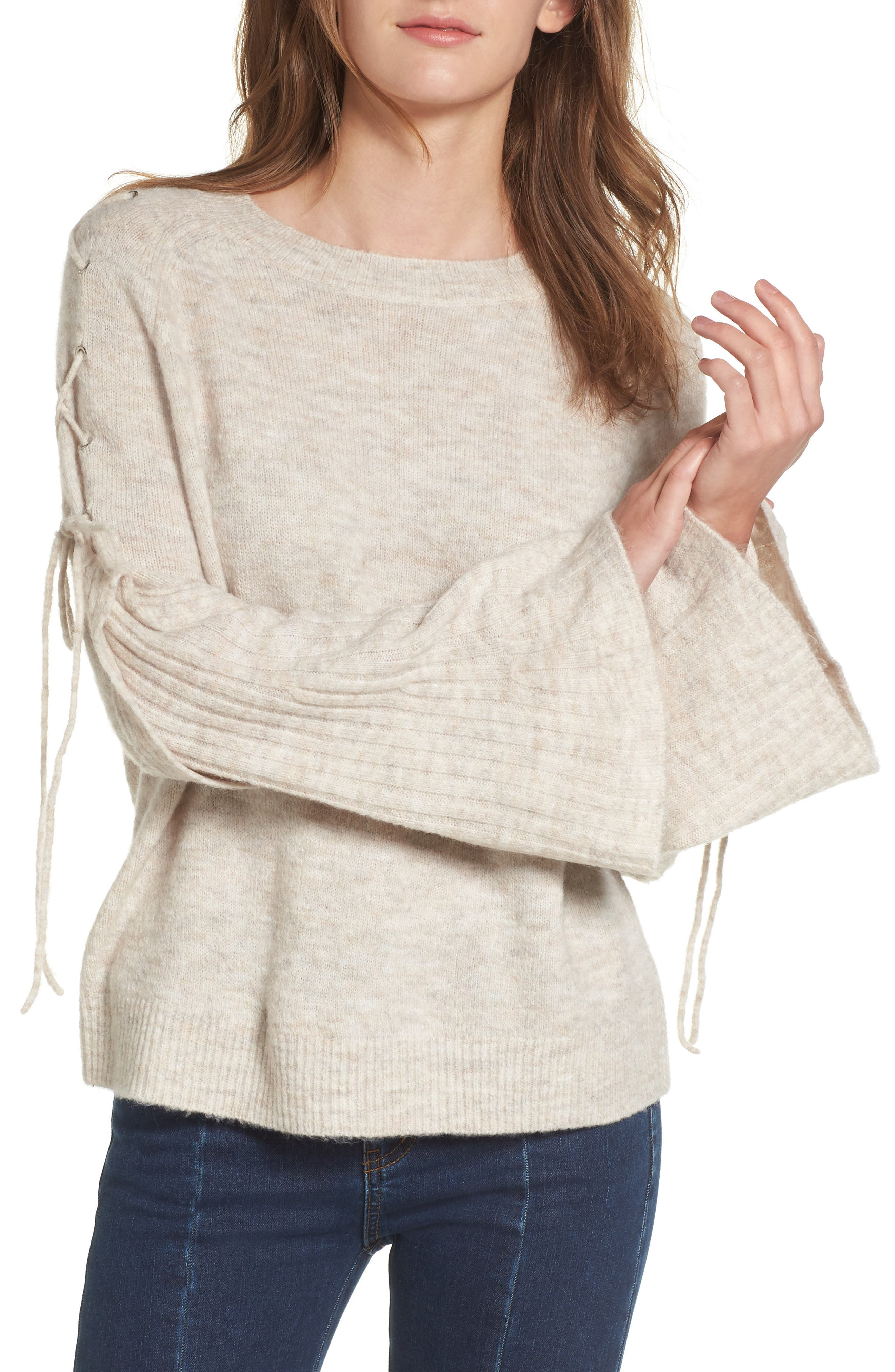 Lace Up Shoulder Sweater,                             Main thumbnail 1, color,                             260