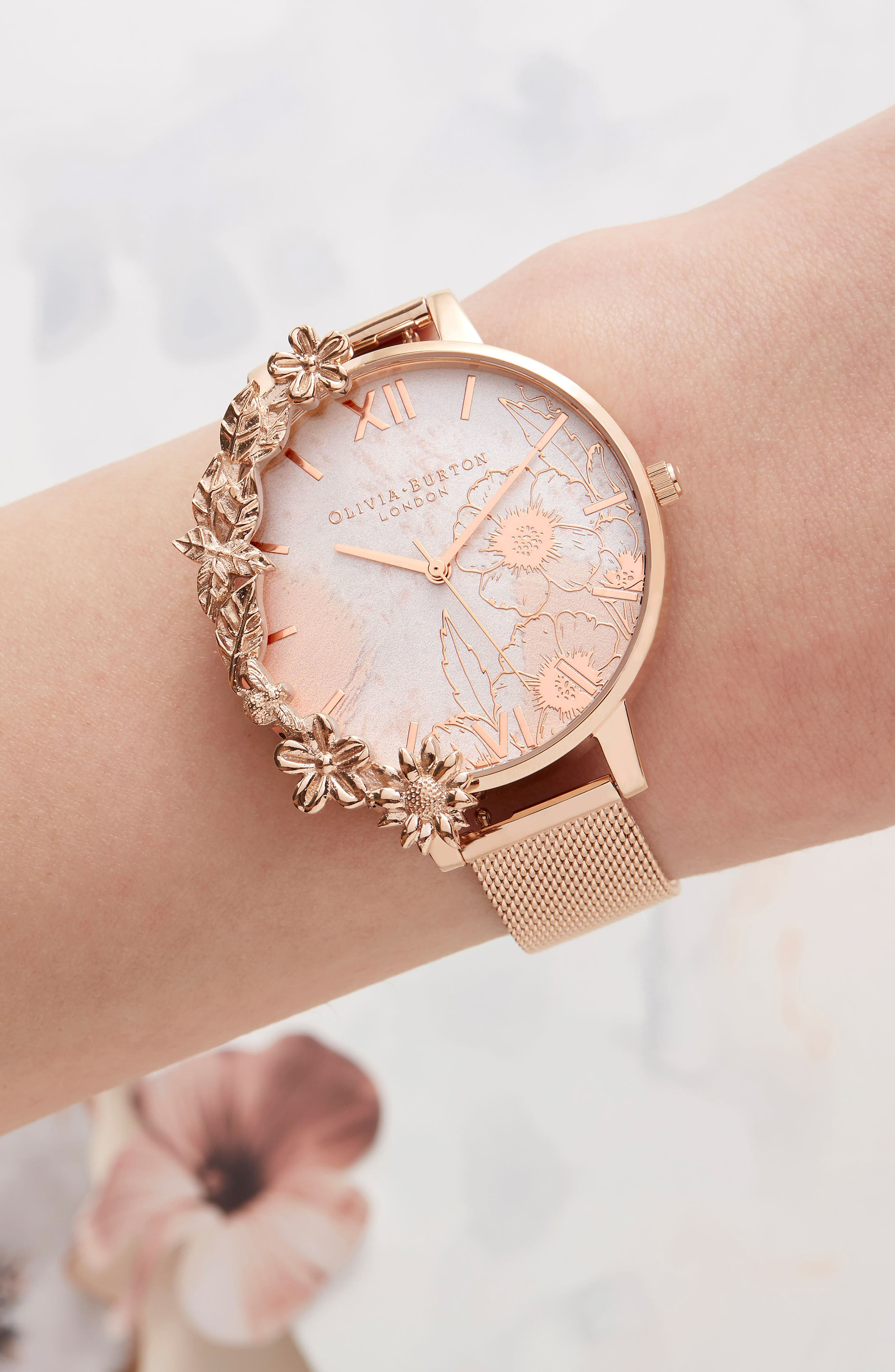 Case Cuff Mesh Strap Watch, 38mm,                             Alternate thumbnail 10, color,                             ROSE GOLD/ FLORAL/ ROSE GOLD