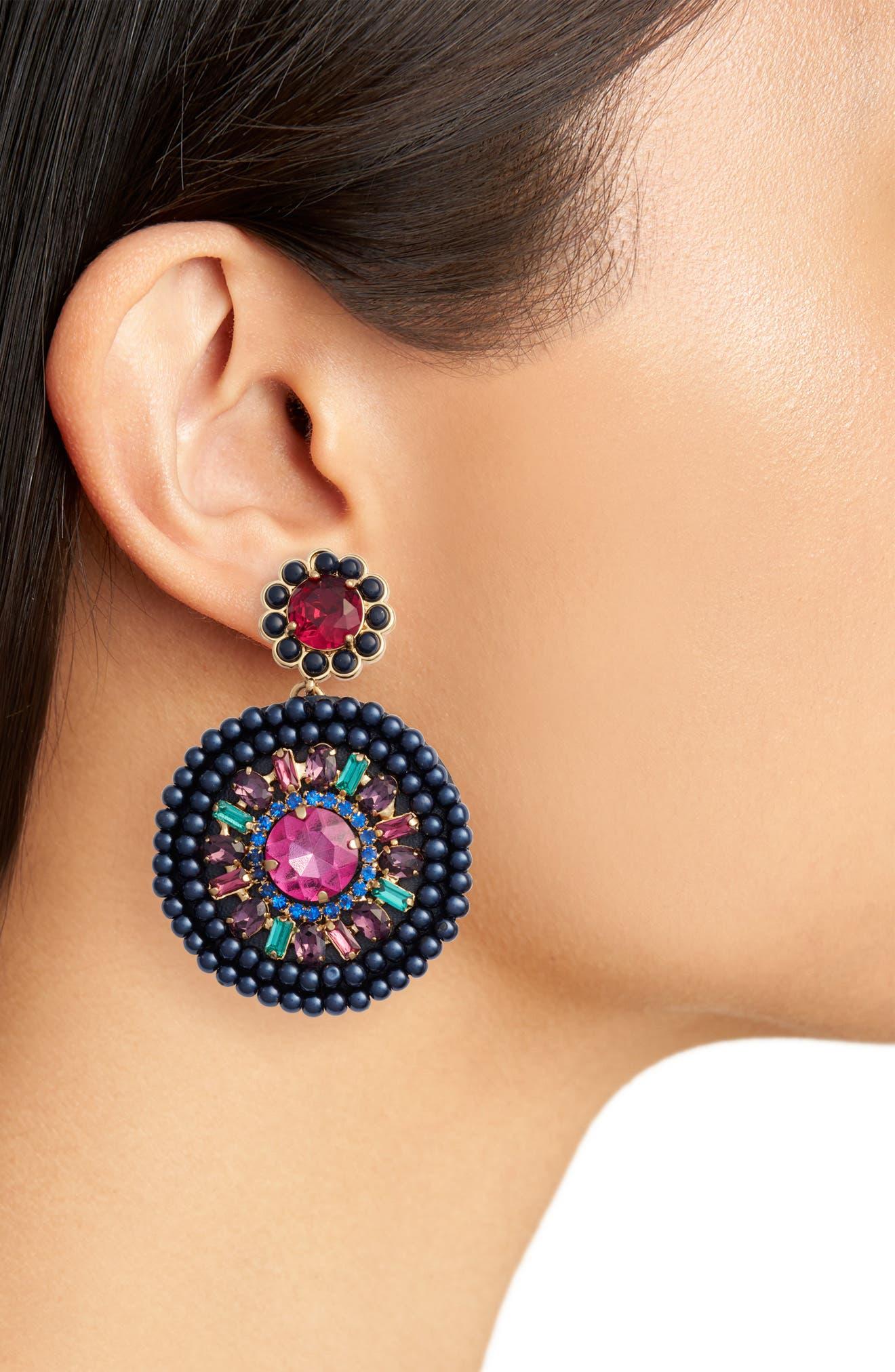 luminous leather statement earrings,                             Alternate thumbnail 4, color,