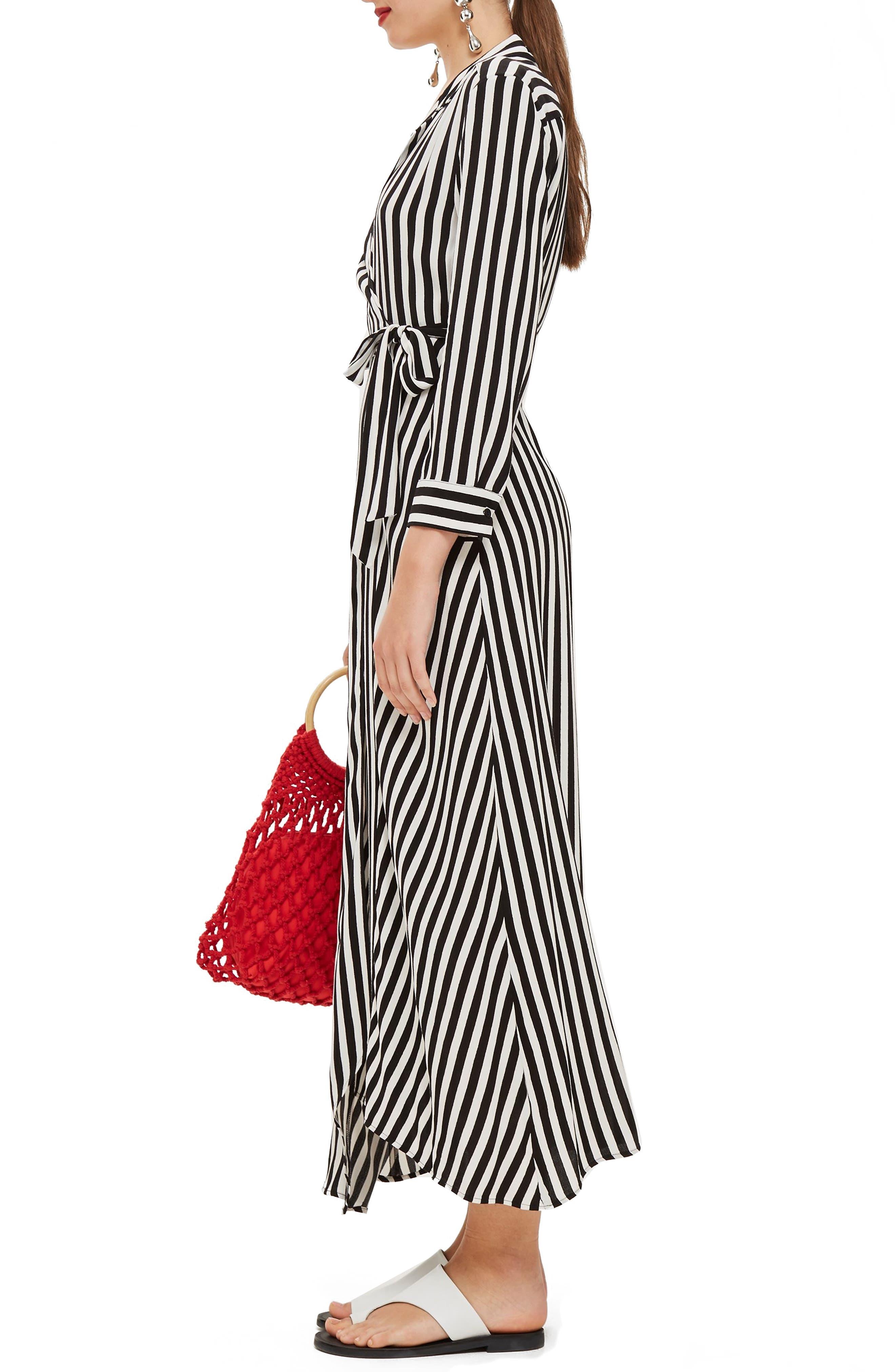 Stripe Wrap Midi Shirtdress,                             Alternate thumbnail 3, color,                             BLACK MULTI