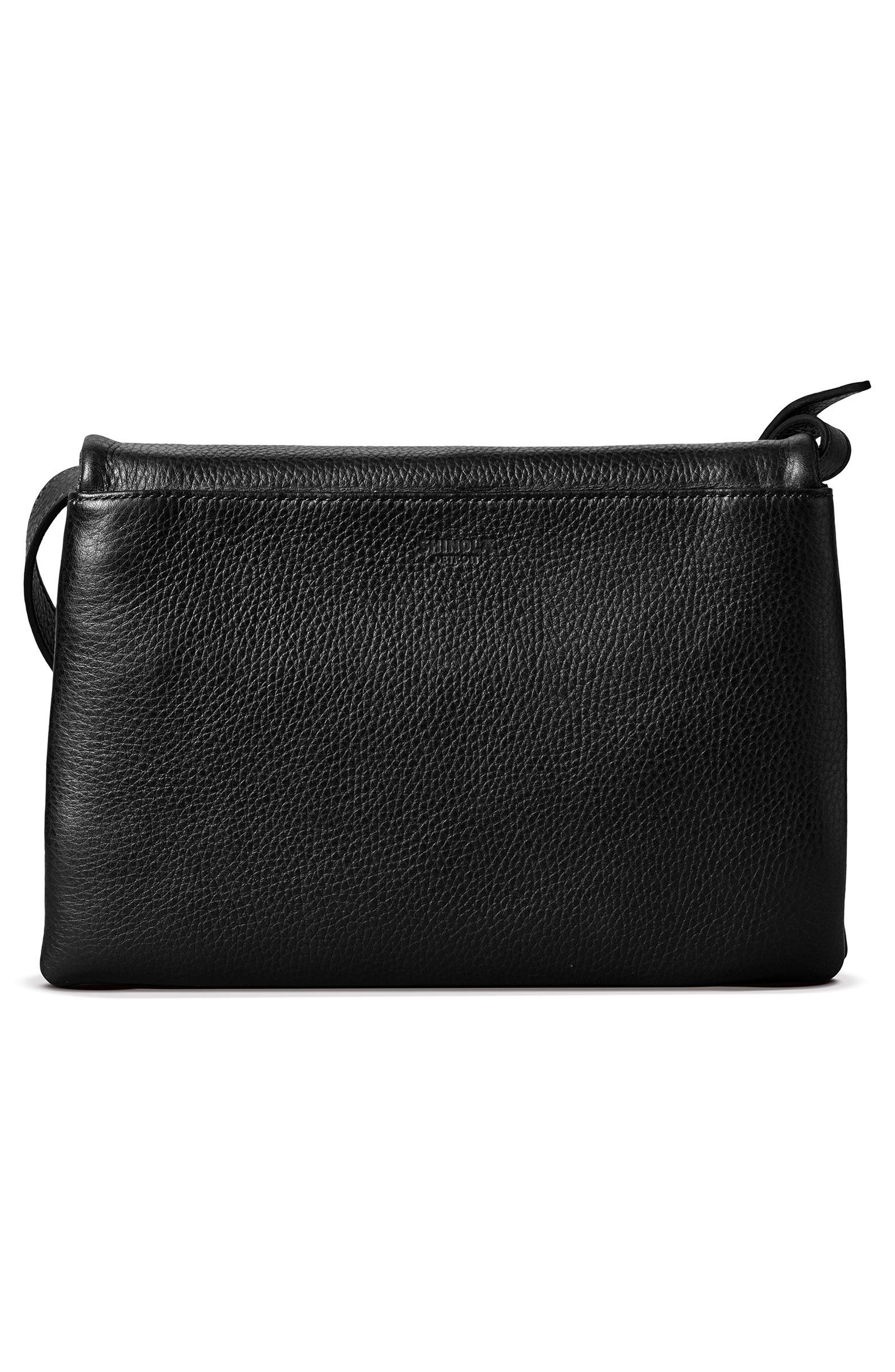 Leather Convertible Shoulder Bag,                             Alternate thumbnail 3, color,                             001