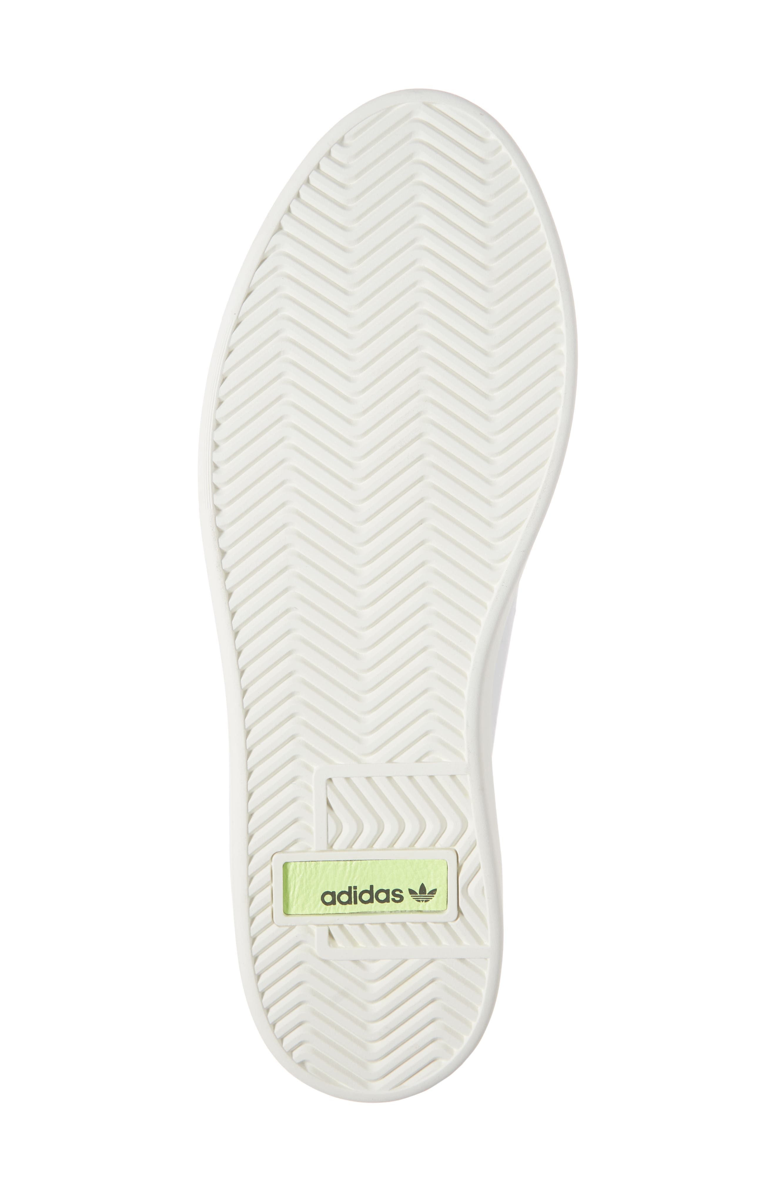 ADIDAS,                             Sleek Leather Sneaker,                             Alternate thumbnail 6, color,                             WHITE/ OFF WHITE/ CRYSTAL