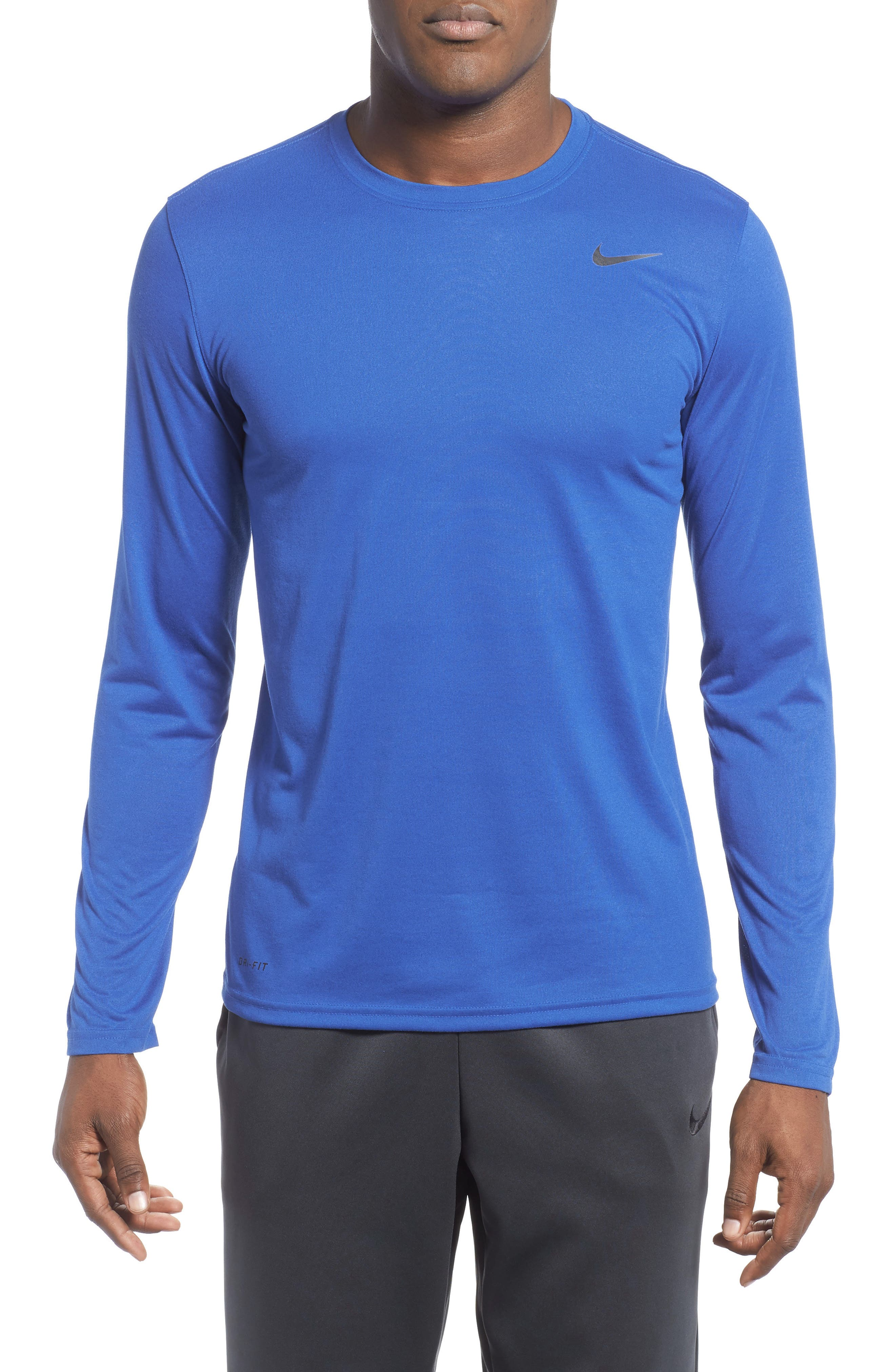 'Legend 2.0' Long Sleeve Dri-FIT Training T-Shirt,                         Main,                         color, GAME ROYAL/ BLACK