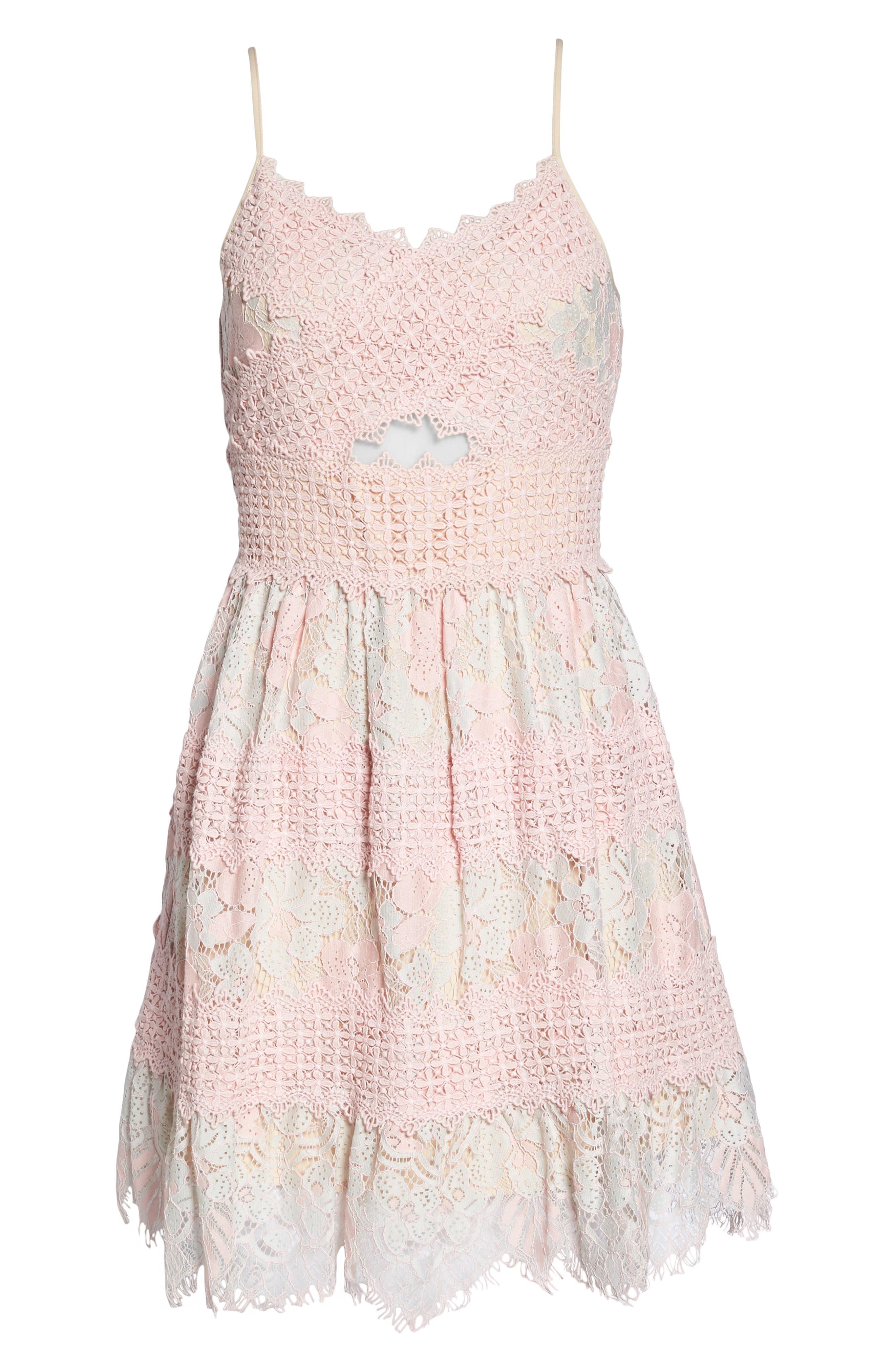 Tabitha Lace Minidress,                             Alternate thumbnail 6, color,