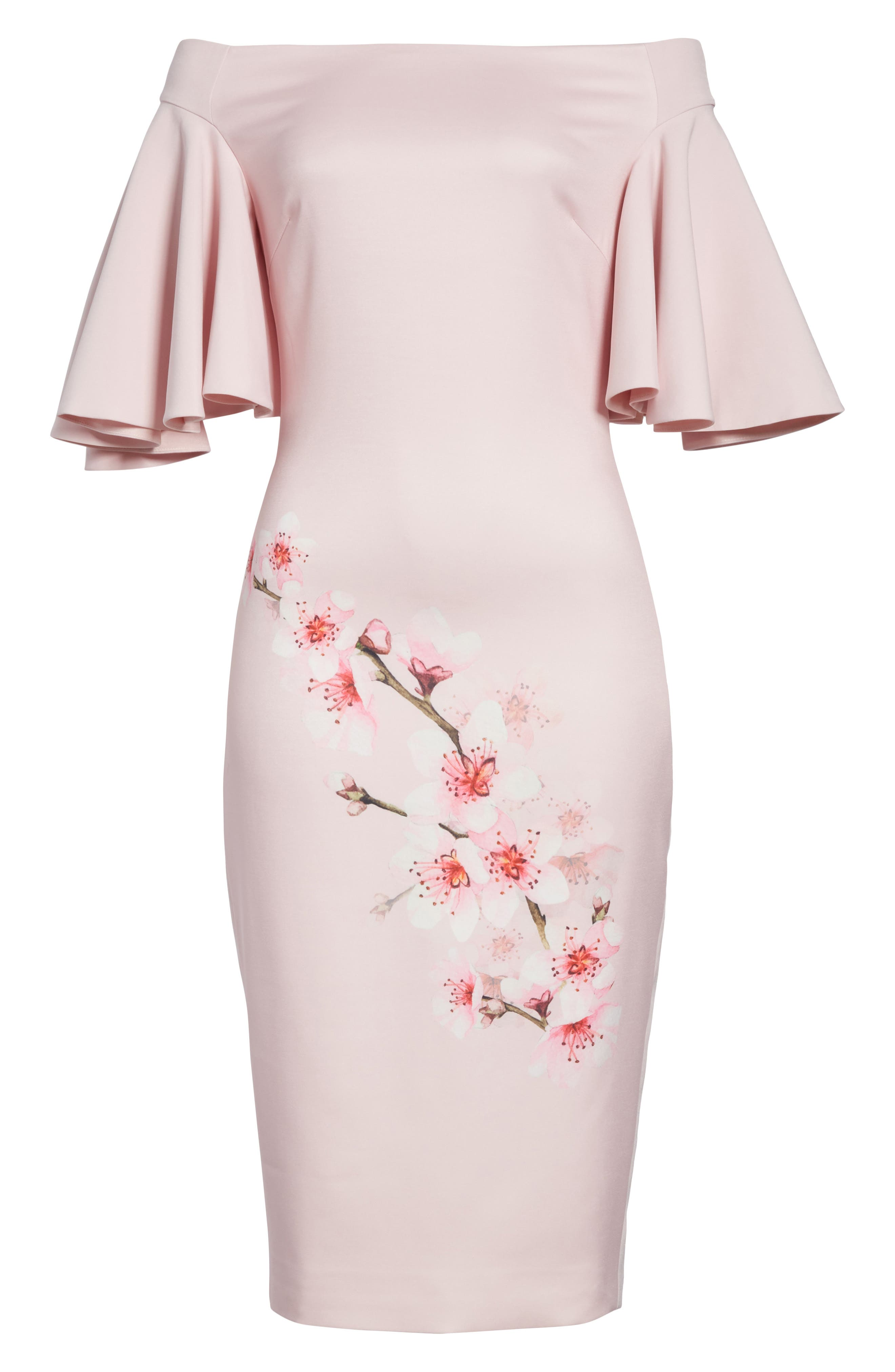Soft Blossom Off the Shoulder Sheath Dress,                             Alternate thumbnail 6, color,                             683