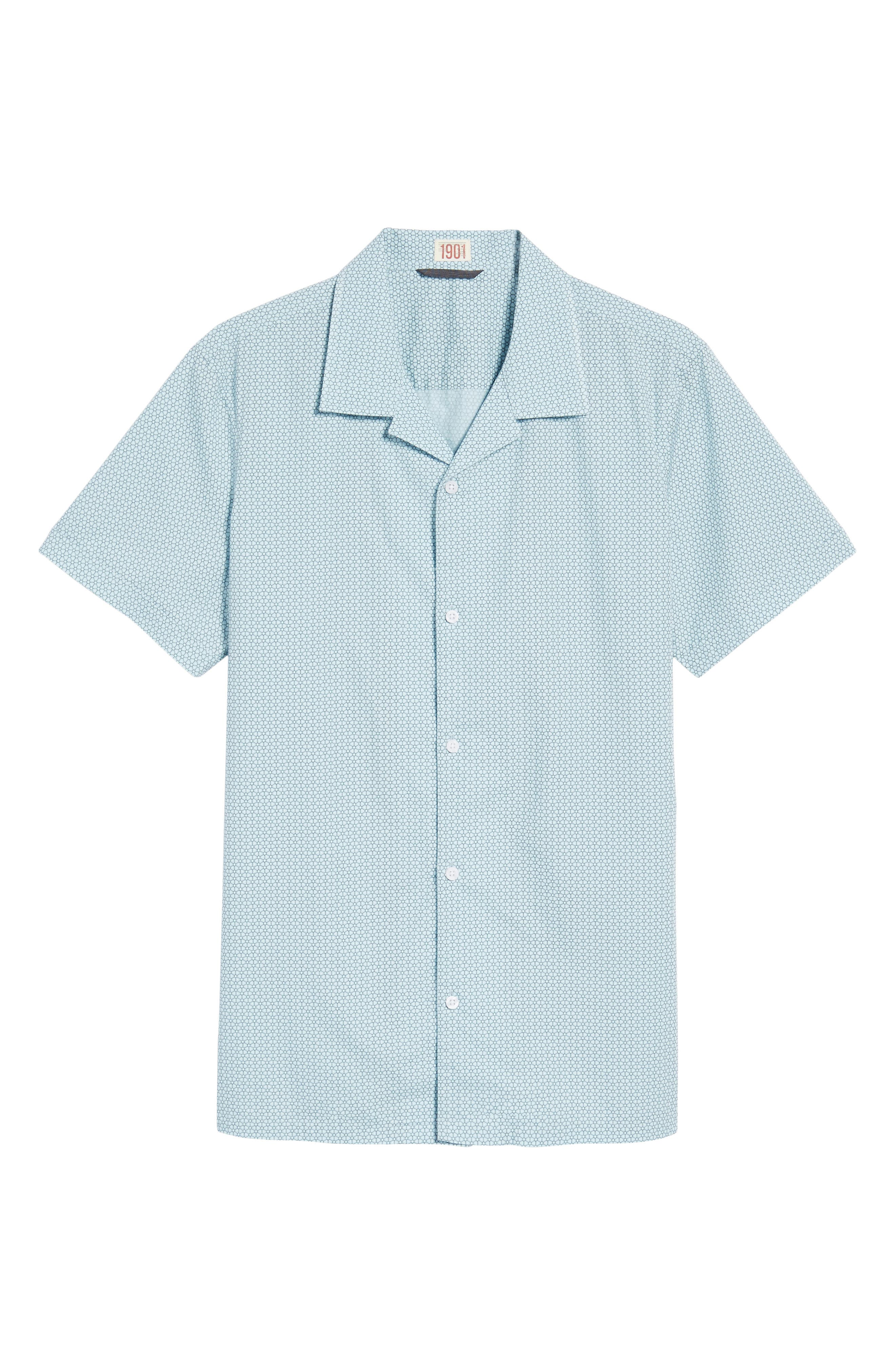 Trim Fit Stretch Geometric Camp Shirt,                             Alternate thumbnail 6, color,                             450