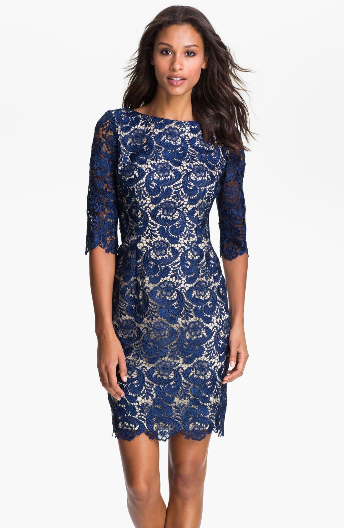 ELIZA J Embroidered Lace Overlay Sheath Dress, Main, color, 410