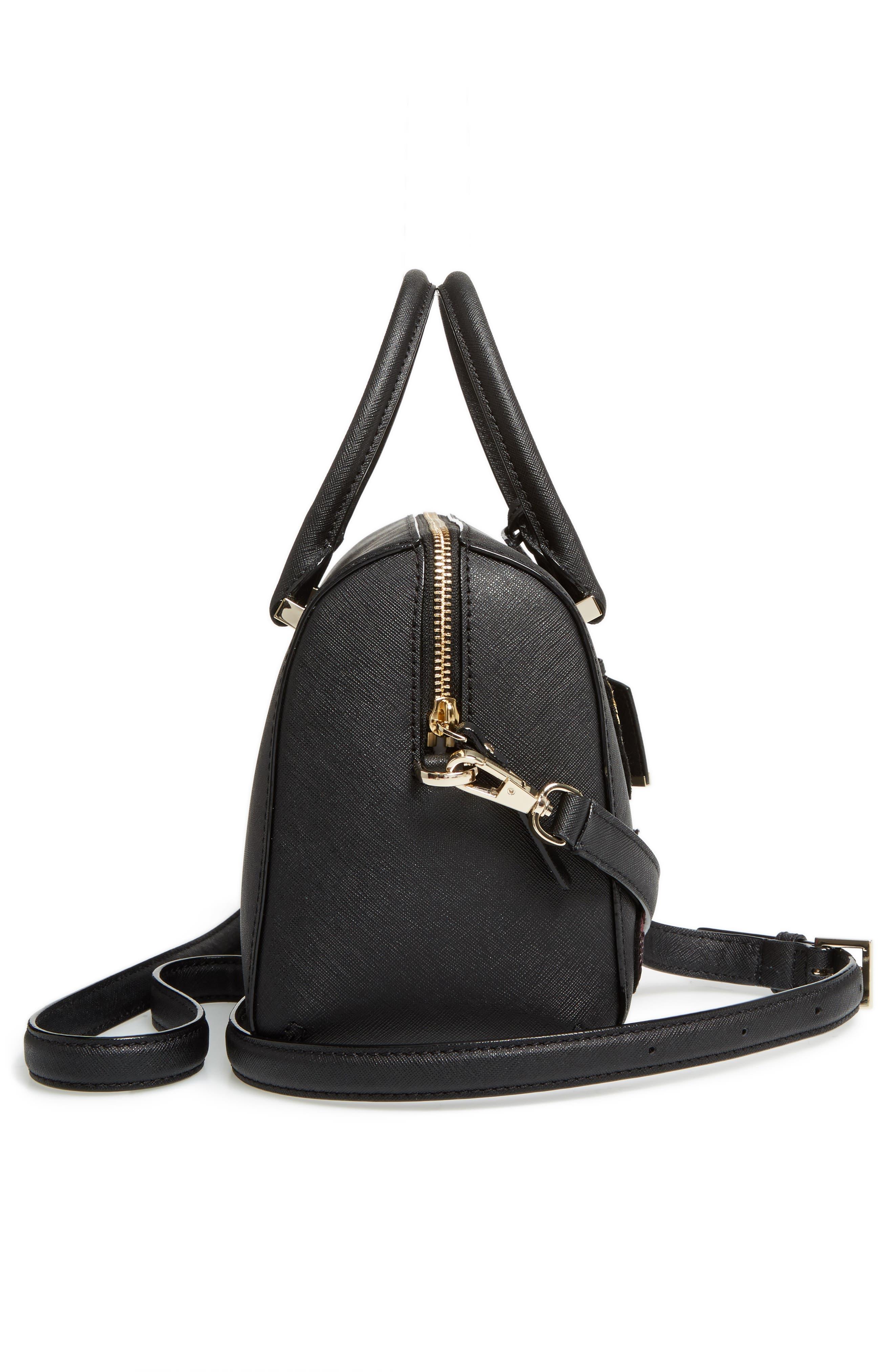 large lane - ma cherie leather satchel,                             Alternate thumbnail 5, color,                             001