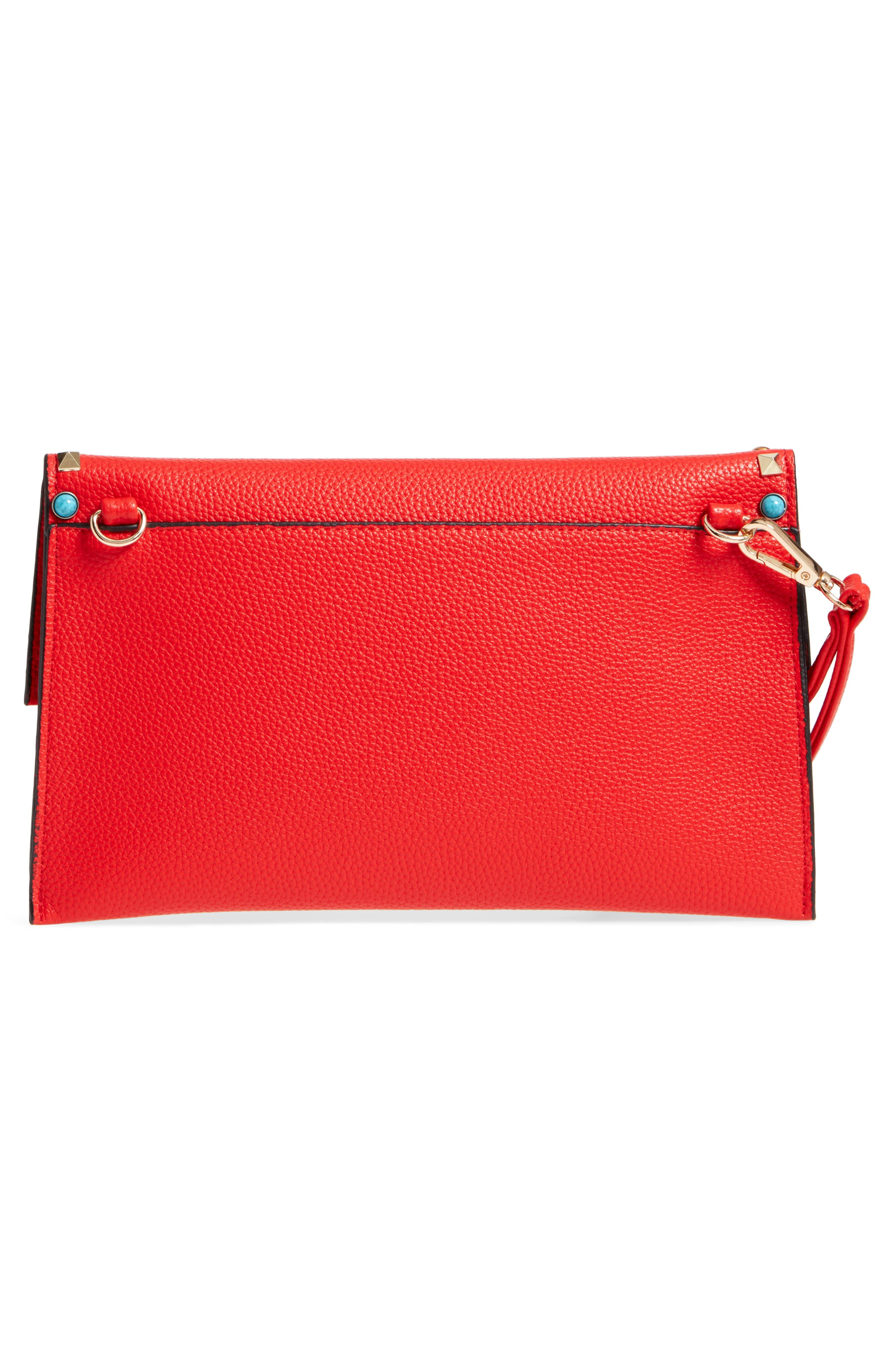 SR Squared by Sondra Roberts Studded Faux Leather Clutch,                             Alternate thumbnail 4, color,                             600