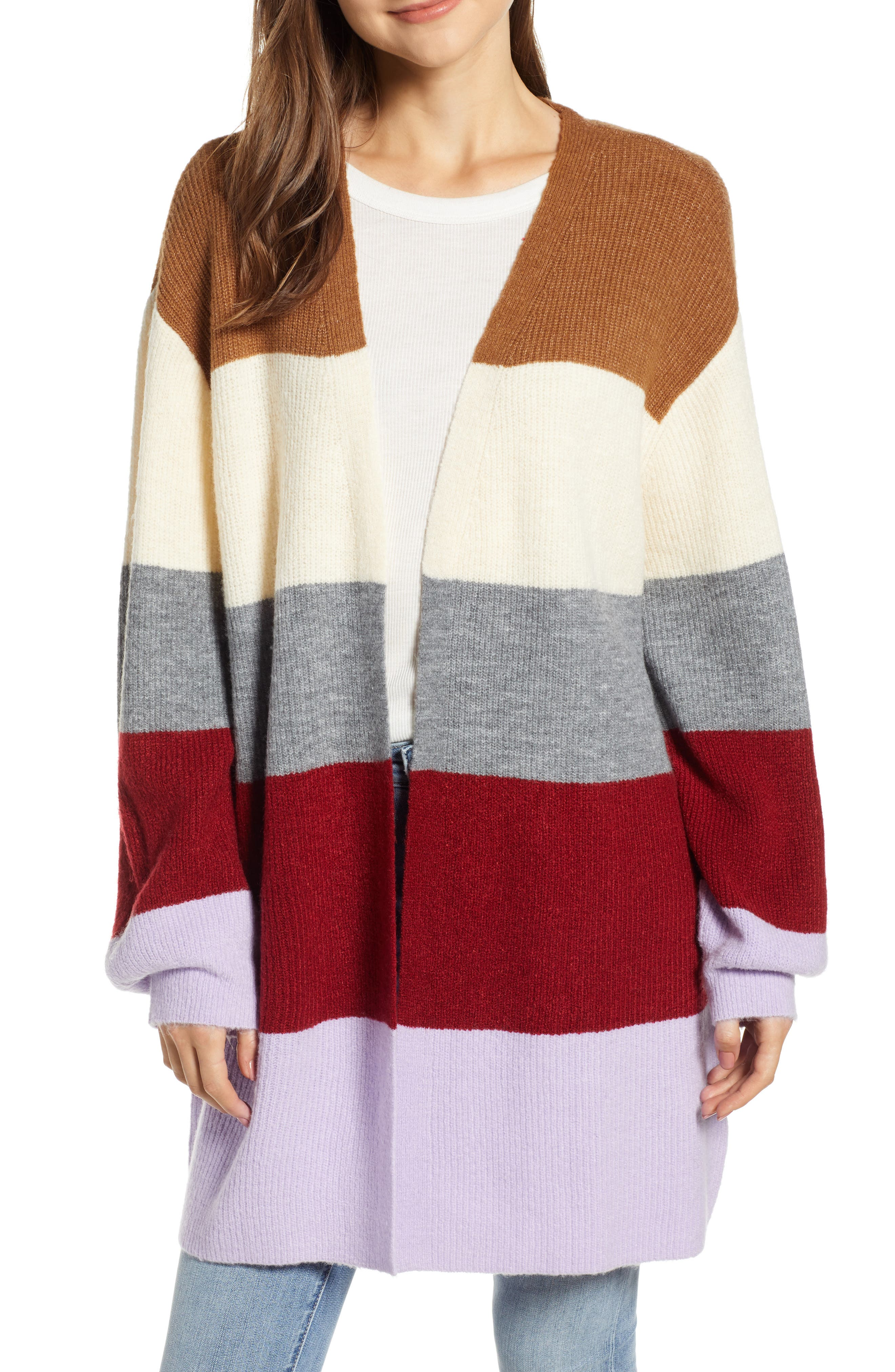 Stripe Cardigan, Main, color, LAVENDER STRIPE