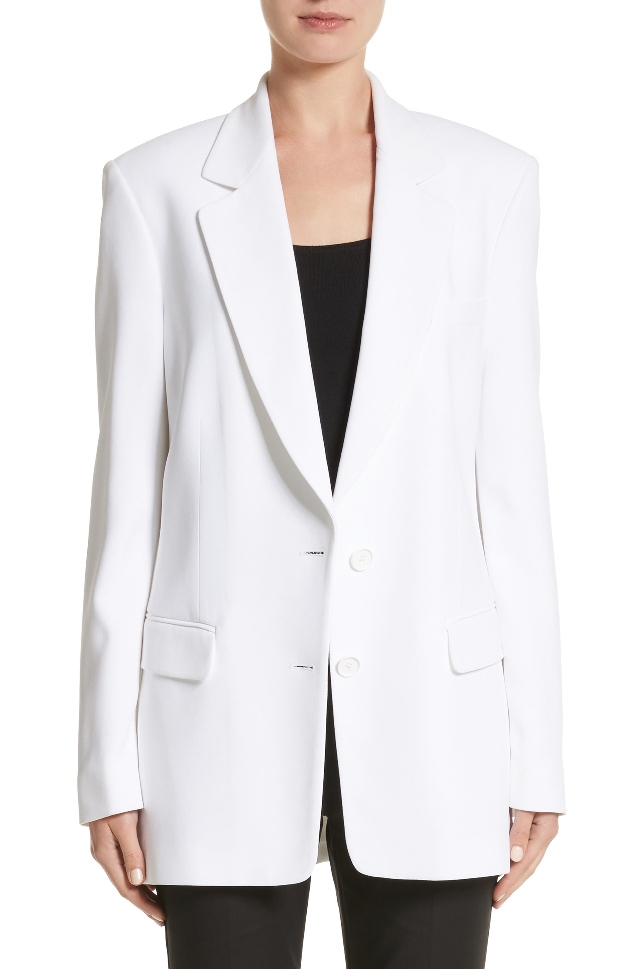 Double Crepe Sable Jacket,                             Main thumbnail 1, color,                             OPTIC WHITE