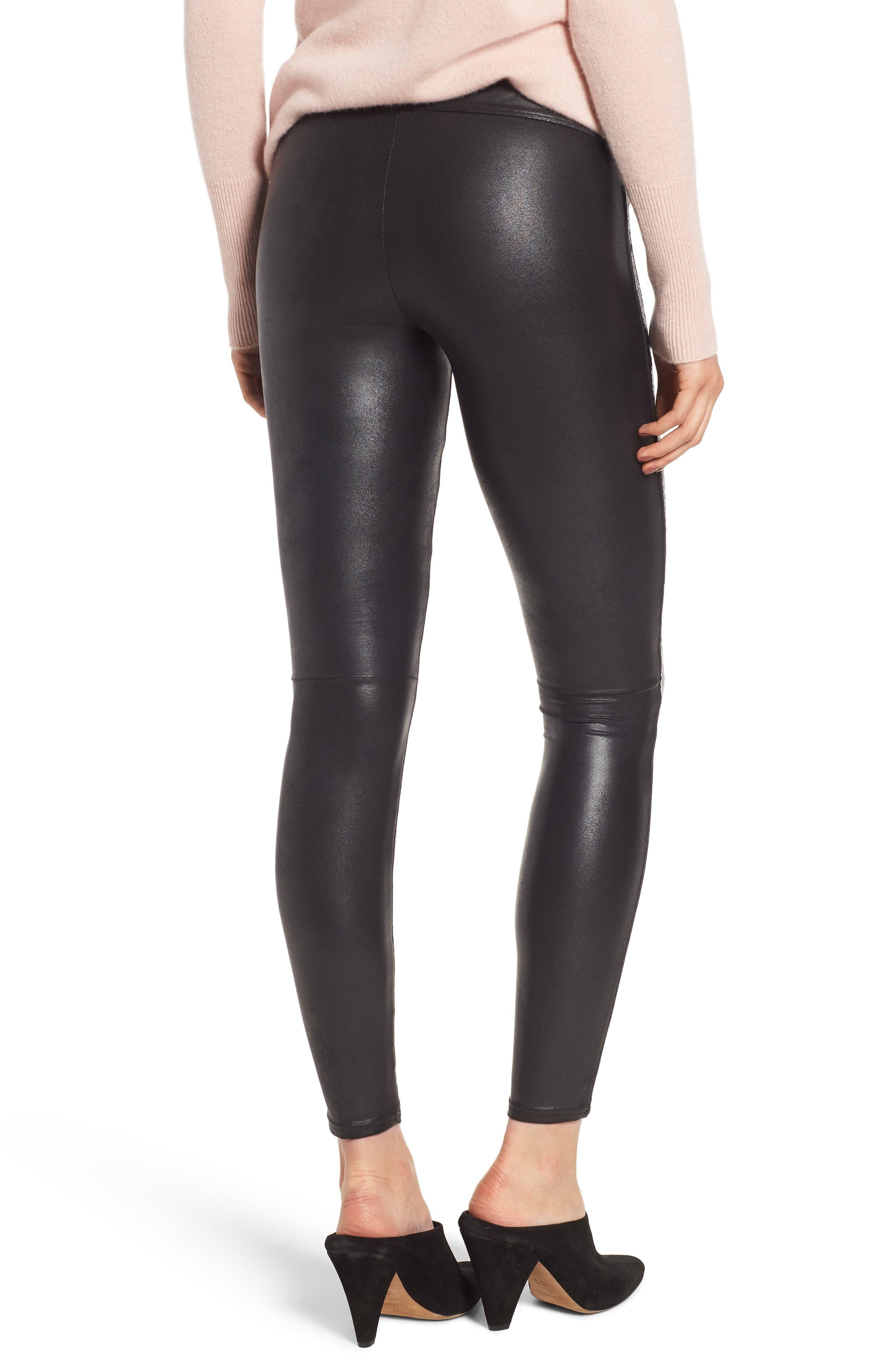 Sequin Faux Leather Leggings,                             Alternate thumbnail 2, color,                             BLACK SEQUIN