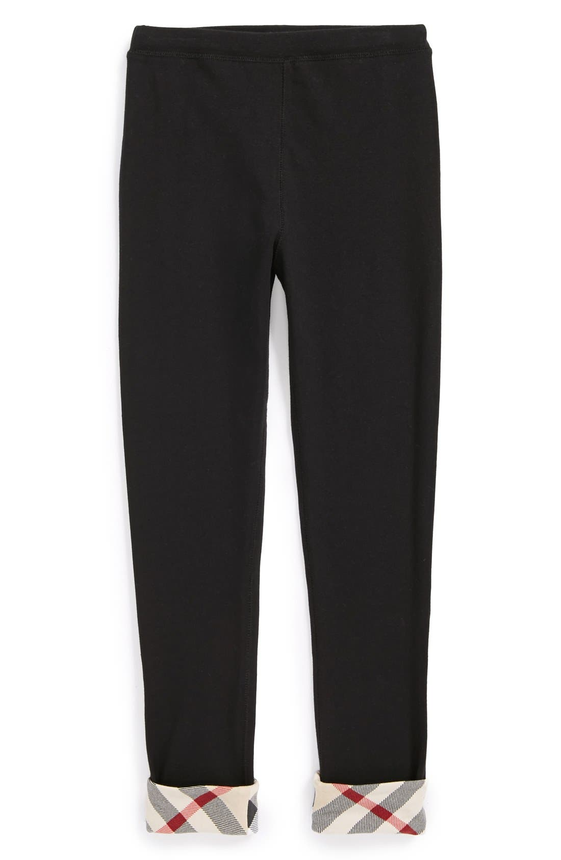 BURBERRY,                             Check Cuff Pants,                             Alternate thumbnail 2, color,                             001