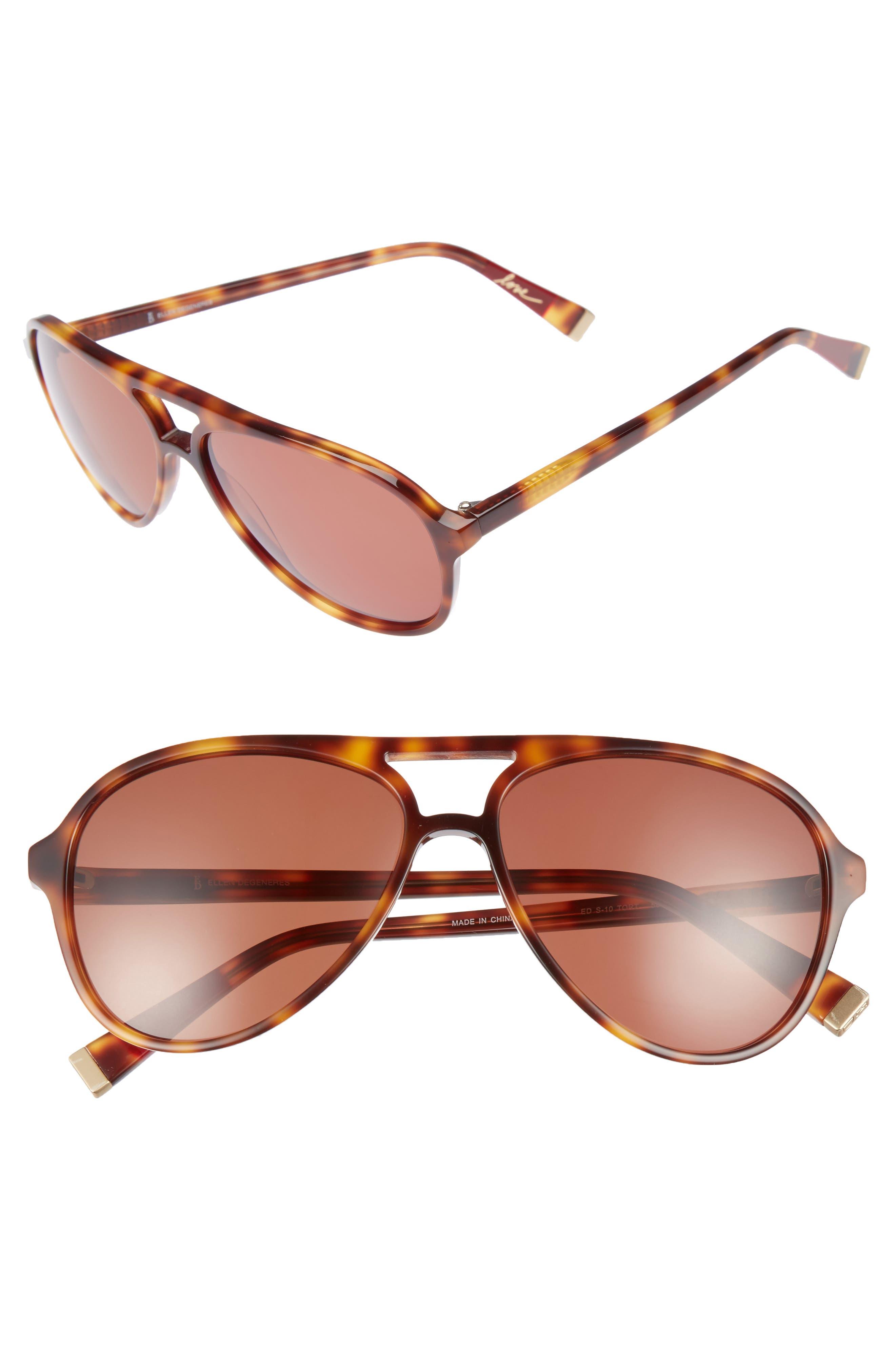 58mm Gradient Aviator Sunglasses,                         Main,                         color, TORTOISE