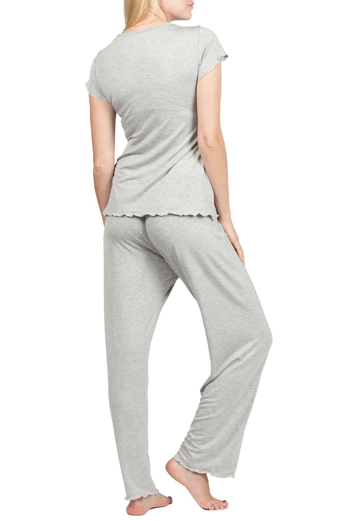 Sophia Maternity/Nursing Pajamas,                             Alternate thumbnail 6, color,                             HEATHER GREY