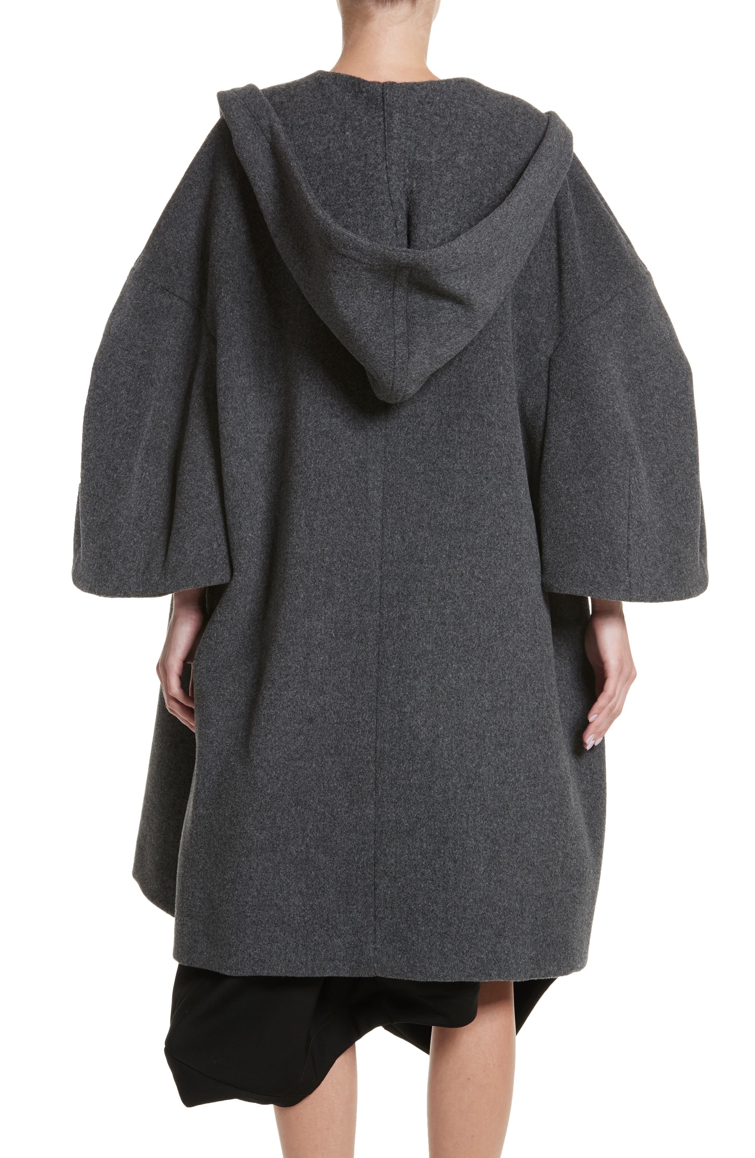 Long Hooded Wool Blend Coat,                             Alternate thumbnail 2, color,                             020