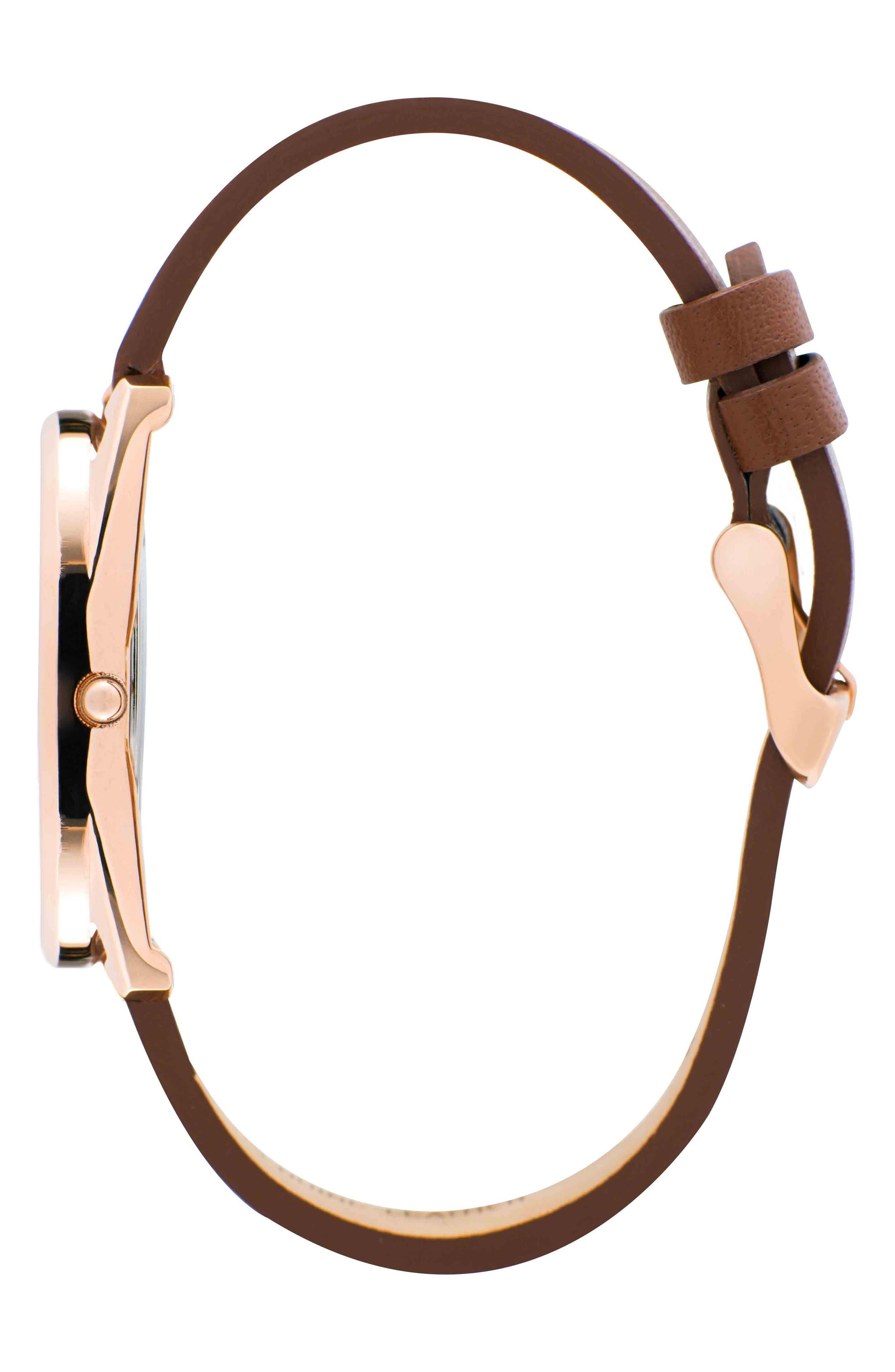 Leonard & Church Chelsea Leather Strap Watch, 34mm,                             Alternate thumbnail 9, color,