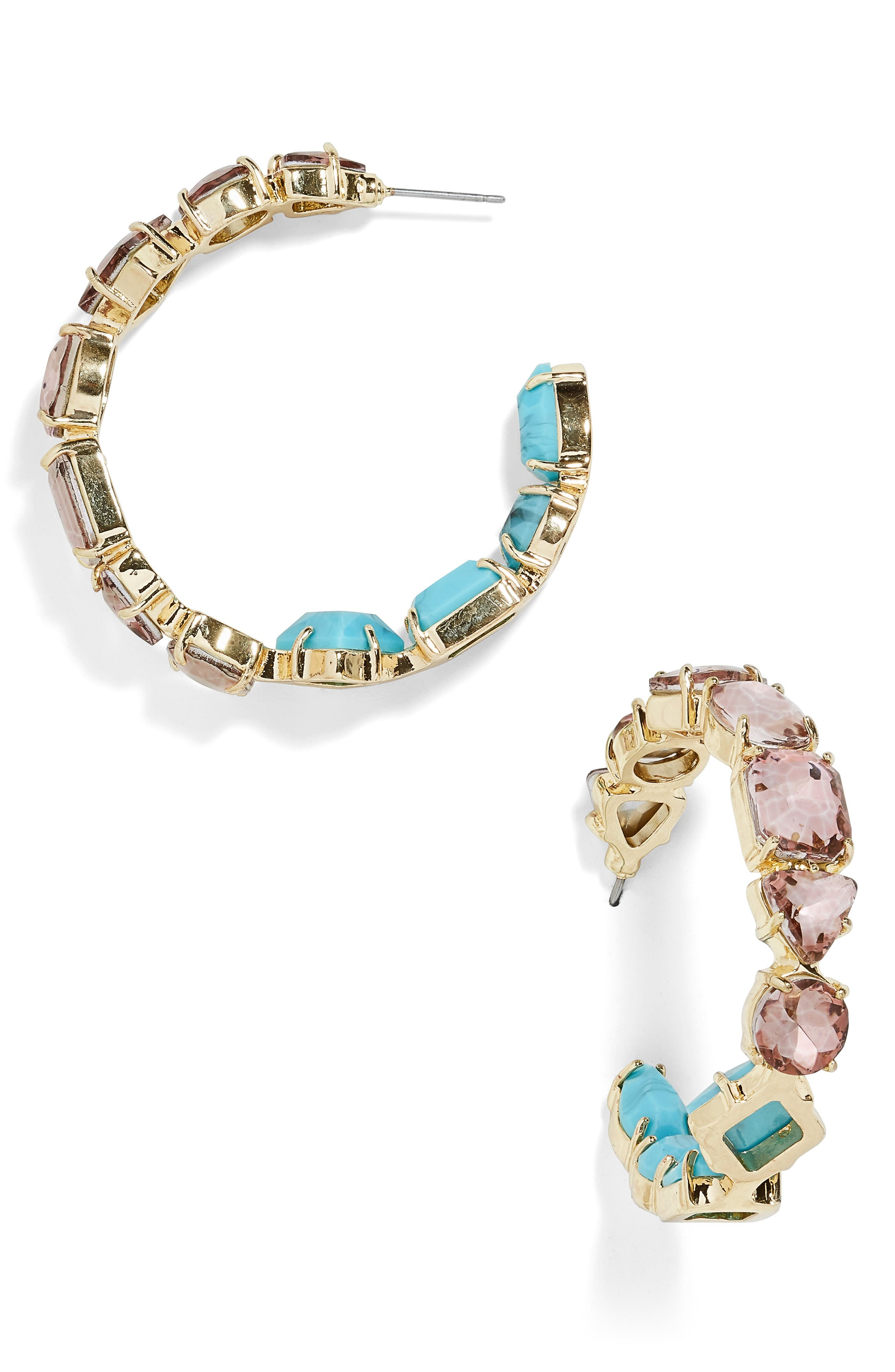 x Micaela Erlanger Happy Hour Inside Out Hoop Earrings,                             Main thumbnail 1, color,                             TURQUOISE/ GOLD