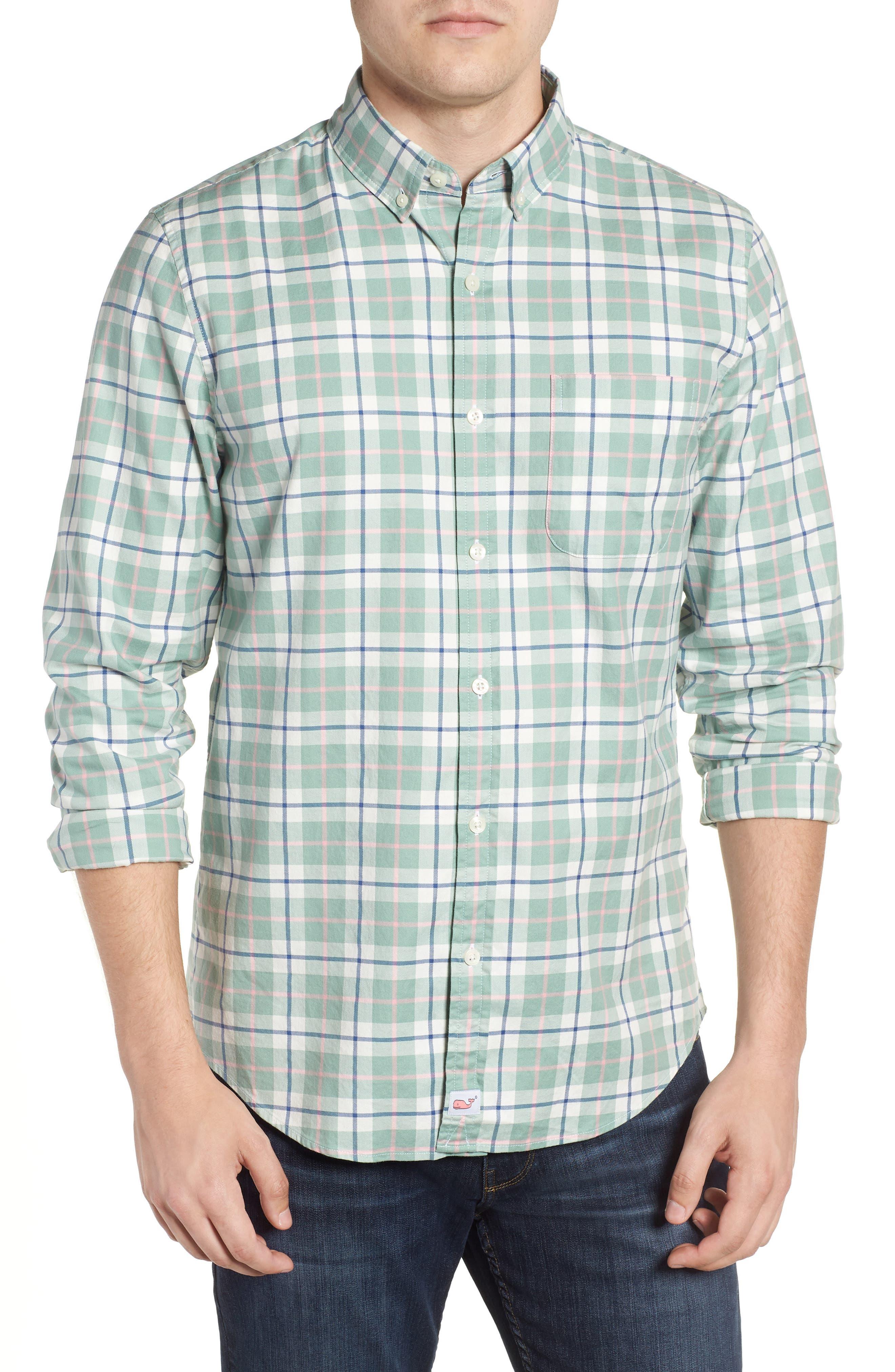 Riverbank Regular Fit Plaid Sport Shirt,                             Main thumbnail 1, color,                             DESERT GREEN
