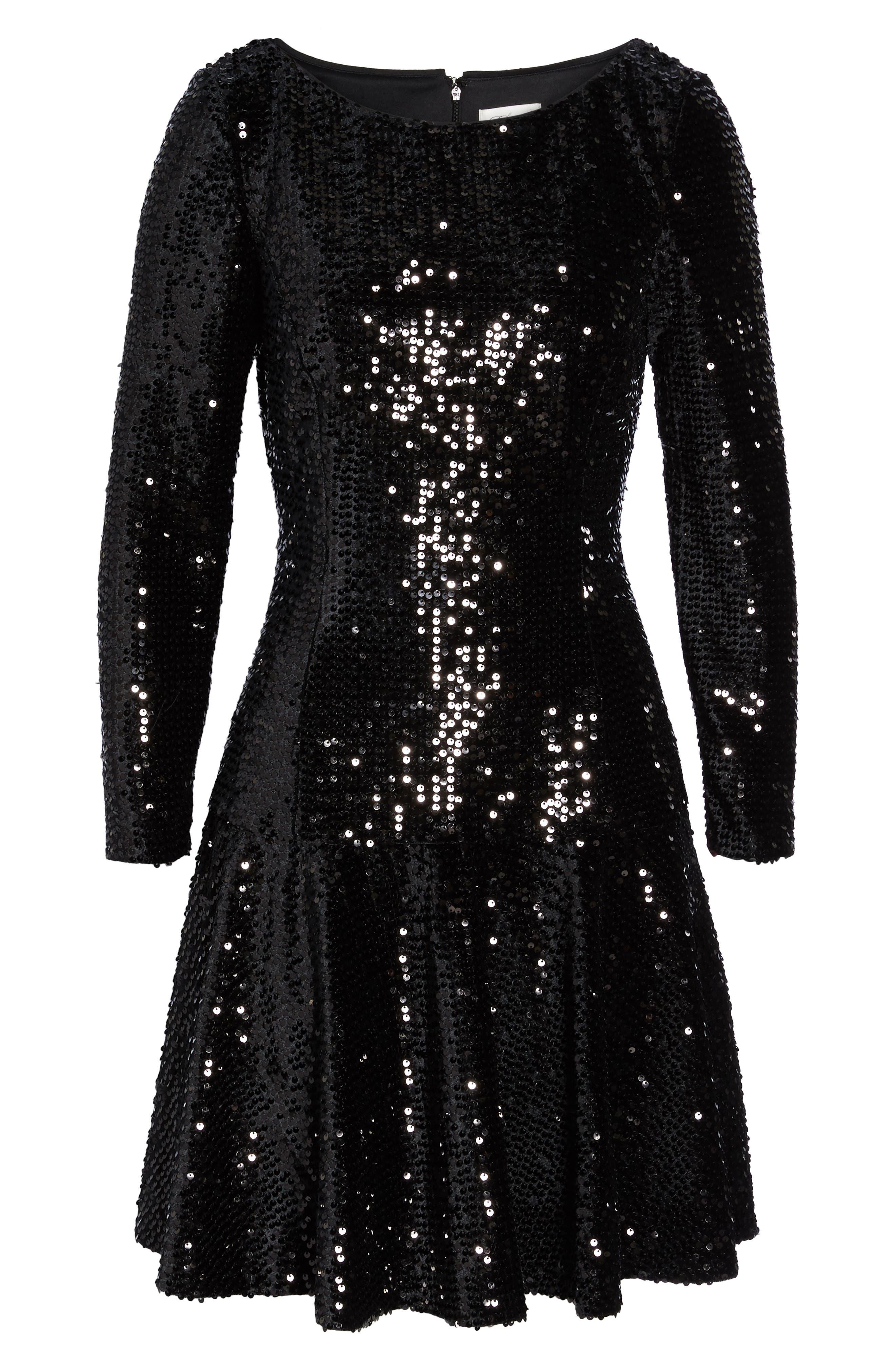 Sequin Fit & Flare Dress,                             Alternate thumbnail 6, color,                             001