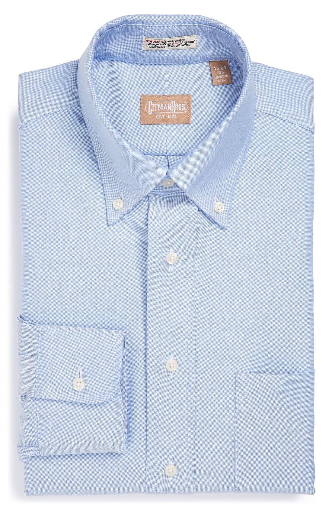 'Cambridge Oxford' Regular Fit Dress Shirt,                         Main,                         color, BLUE