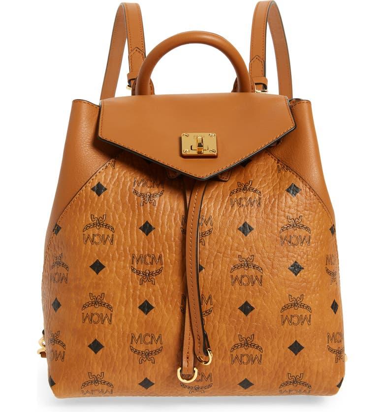 Shop Mcm Essential Visetos Original Small Backpack In Cognac