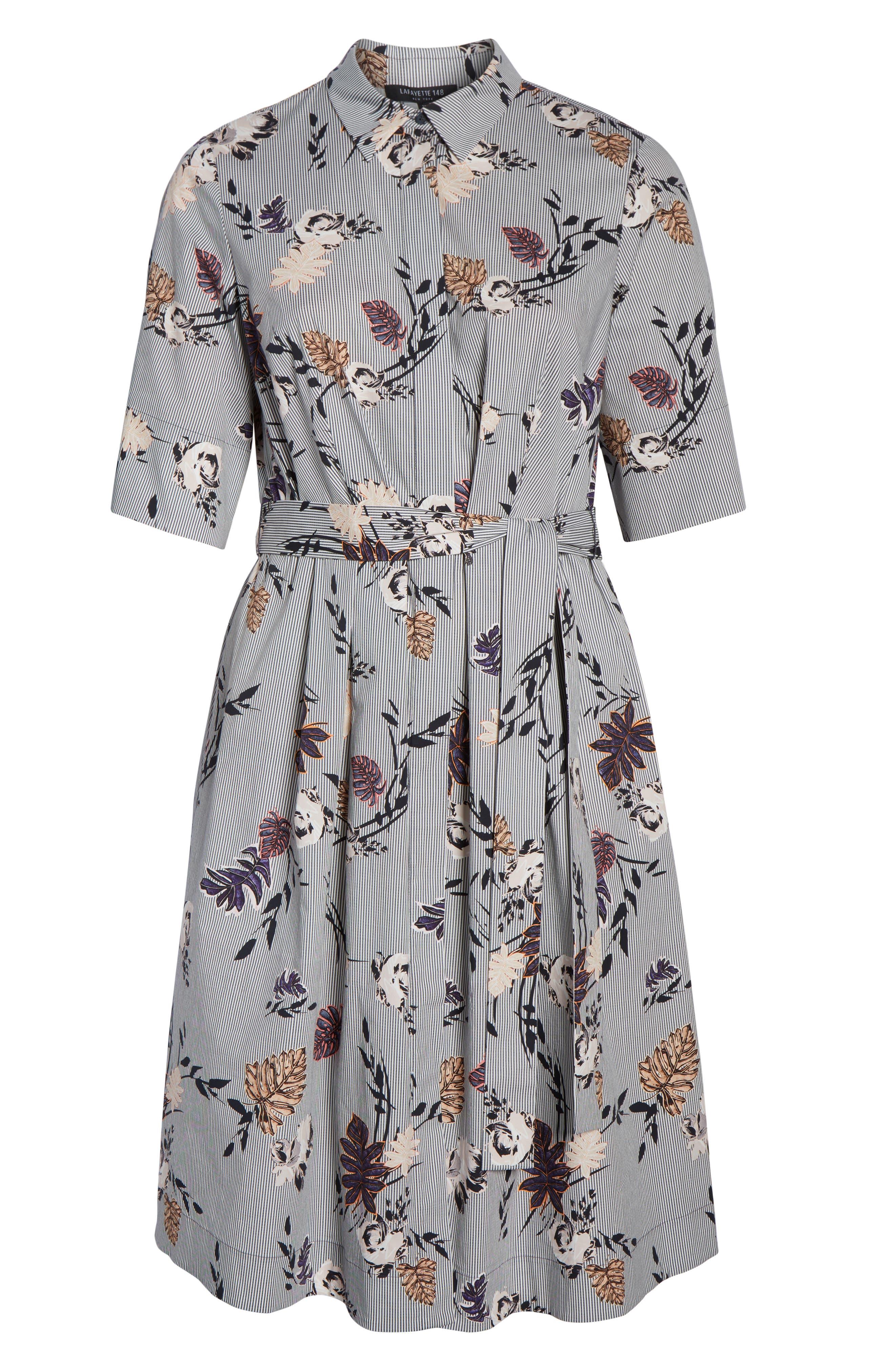Eleni Floral Stripe Shirtdress,                             Alternate thumbnail 6, color,                             INK MULTI