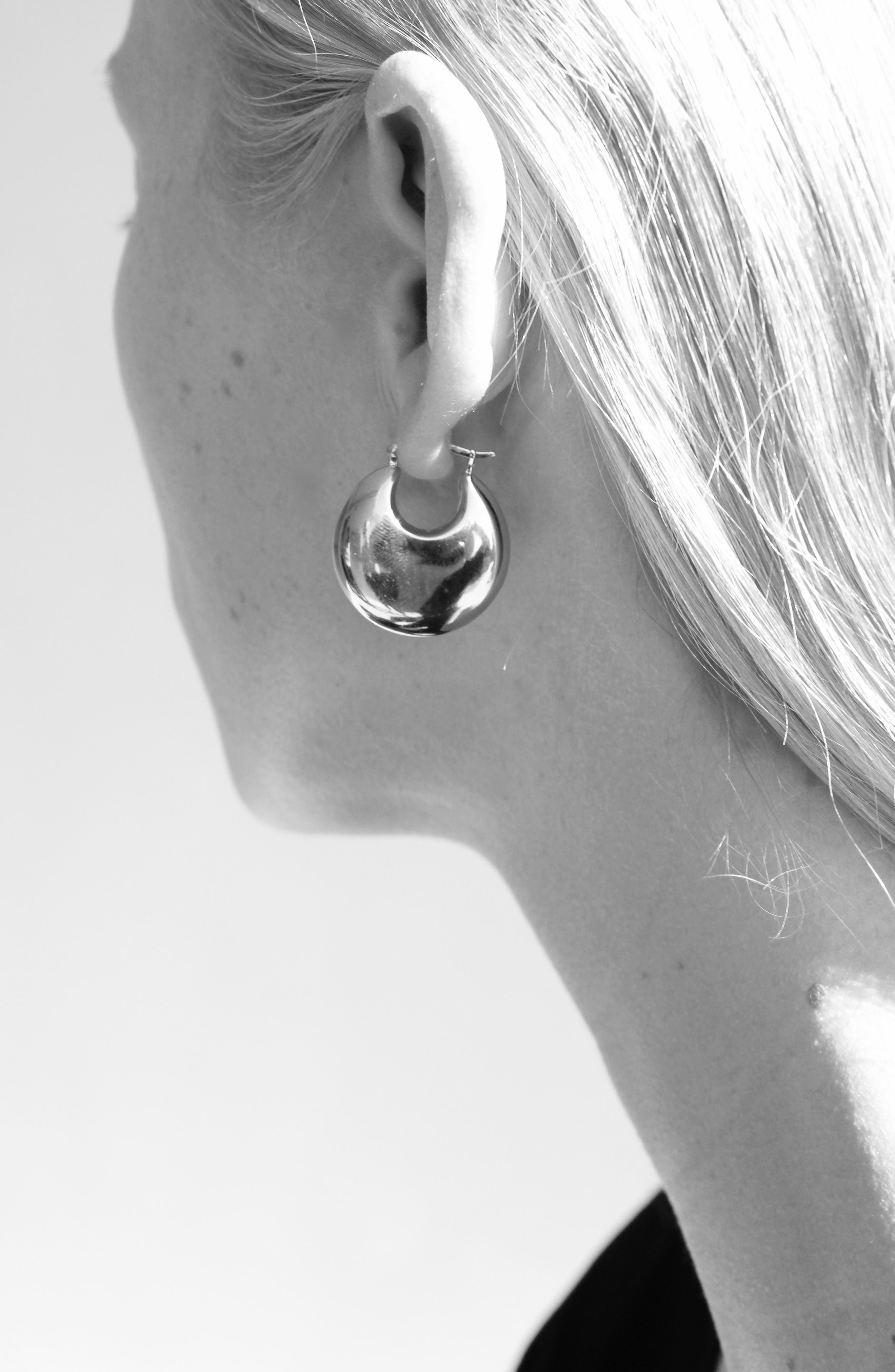 Classic Cowbell Earrings,                             Alternate thumbnail 4, color,                             STERLING SILVER