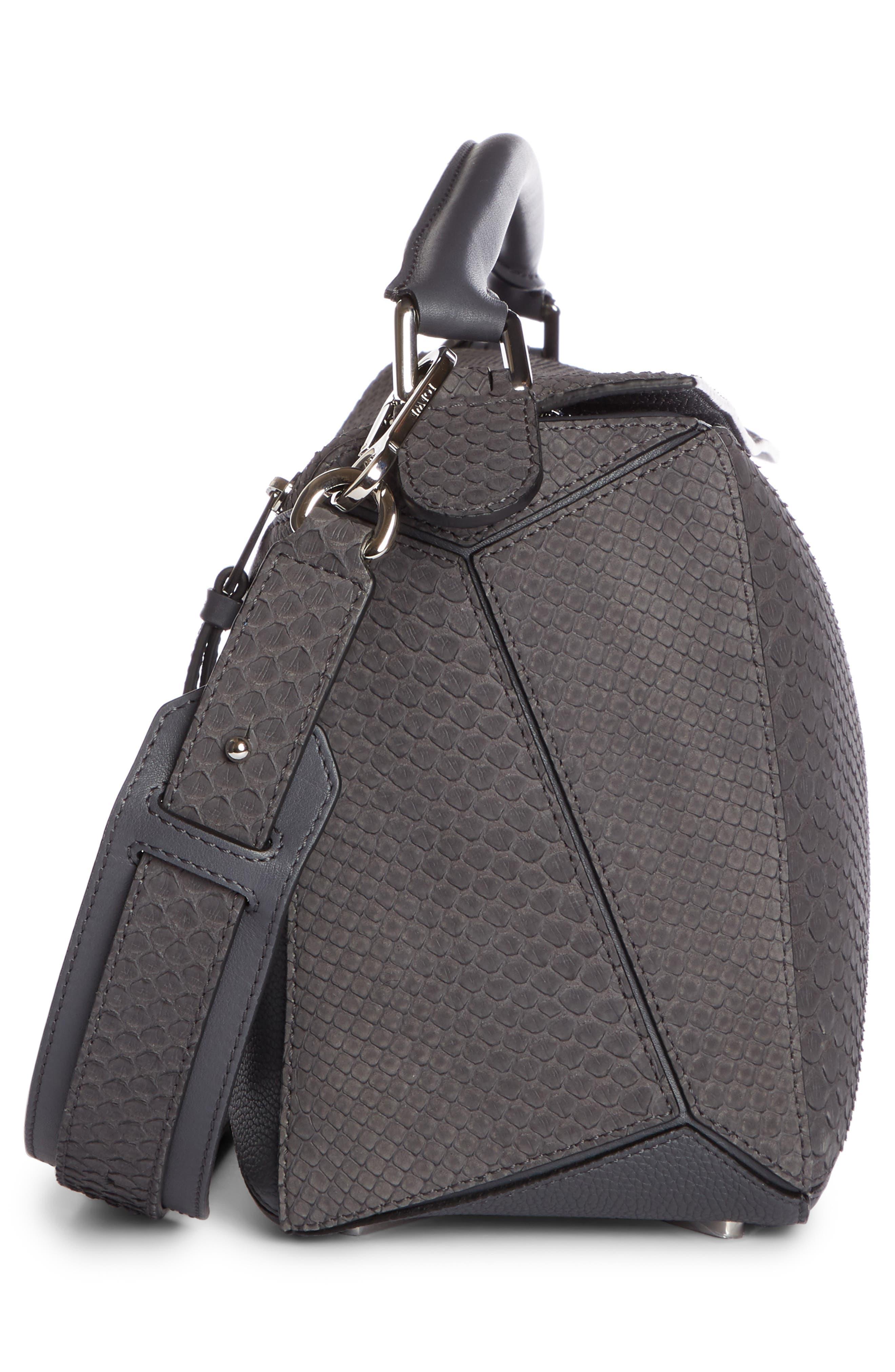 Medium Puzzle Leather Shoulder Bag,                             Alternate thumbnail 3, color,                             ANTHRACITE