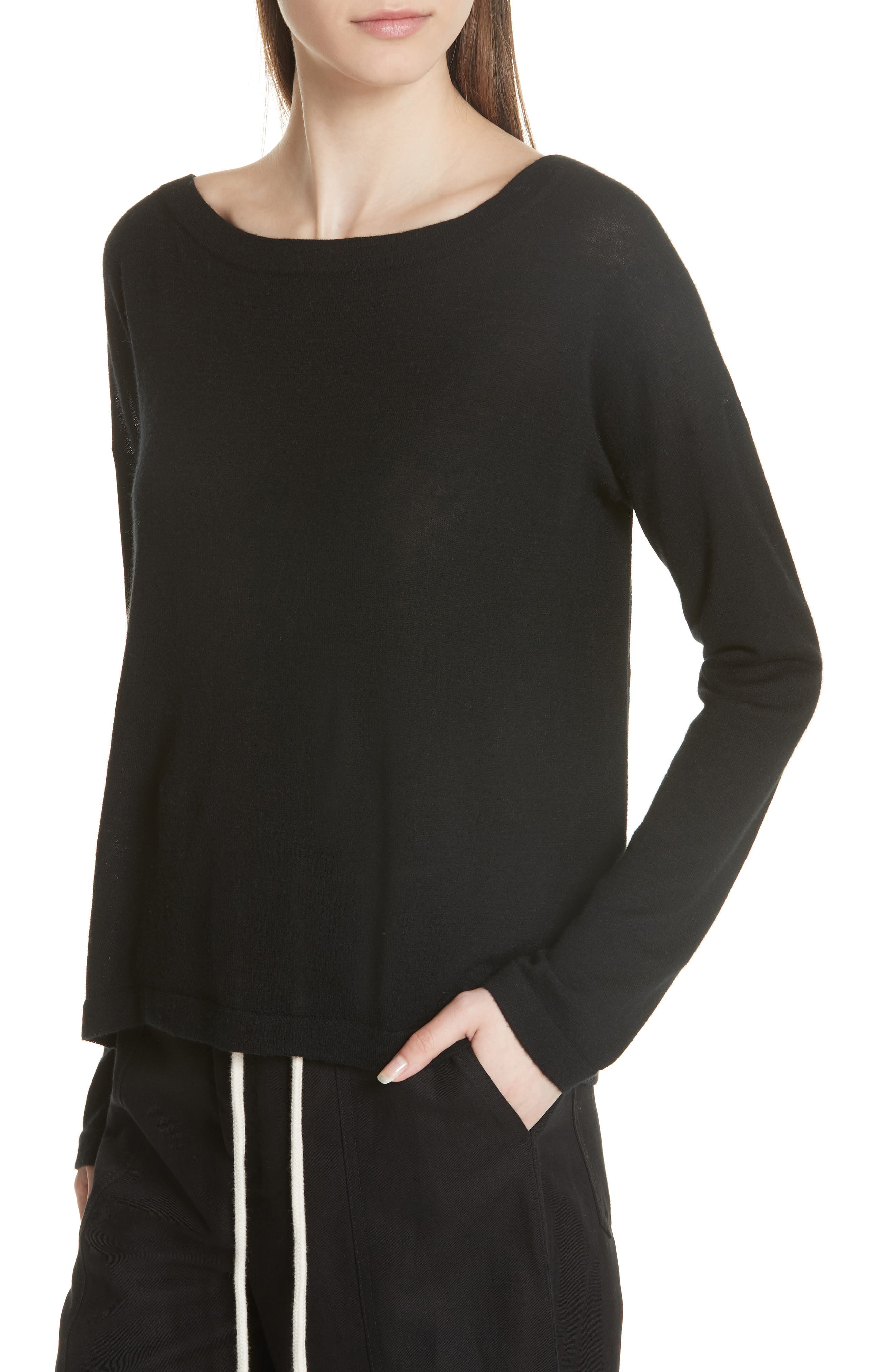 Cinched Back Cashmere Sweater,                             Alternate thumbnail 4, color,                             001