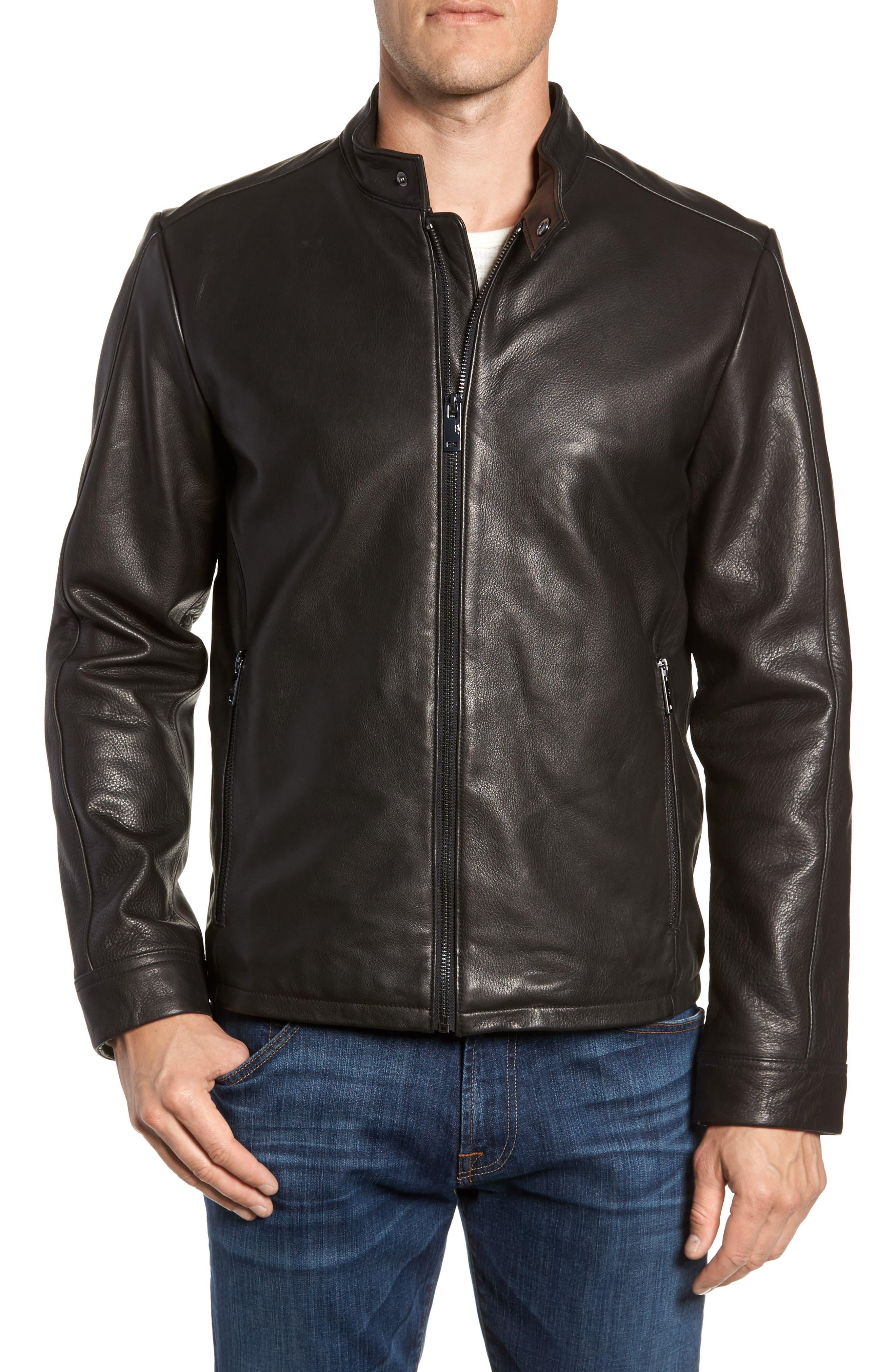 Orlando Leather Racer Coat,                             Alternate thumbnail 4, color,                             BLACK