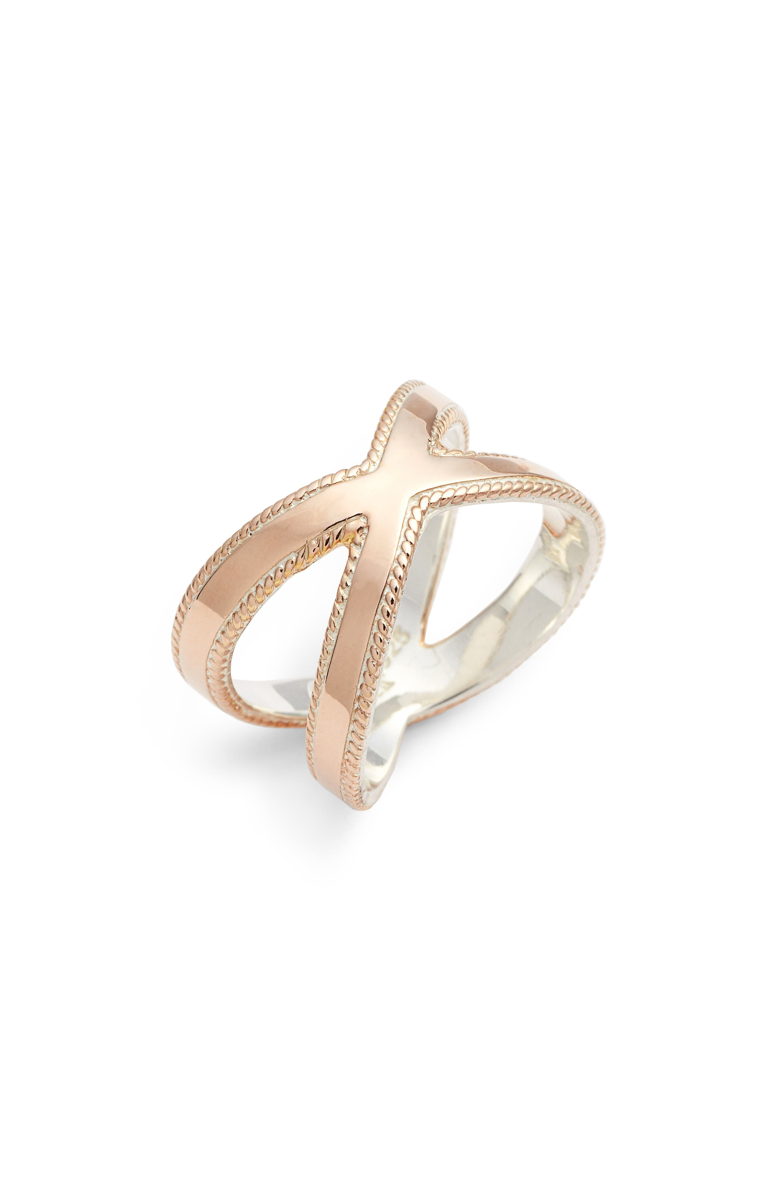 ANNA BECK Smooth Crisscross Ring in Rose Gold