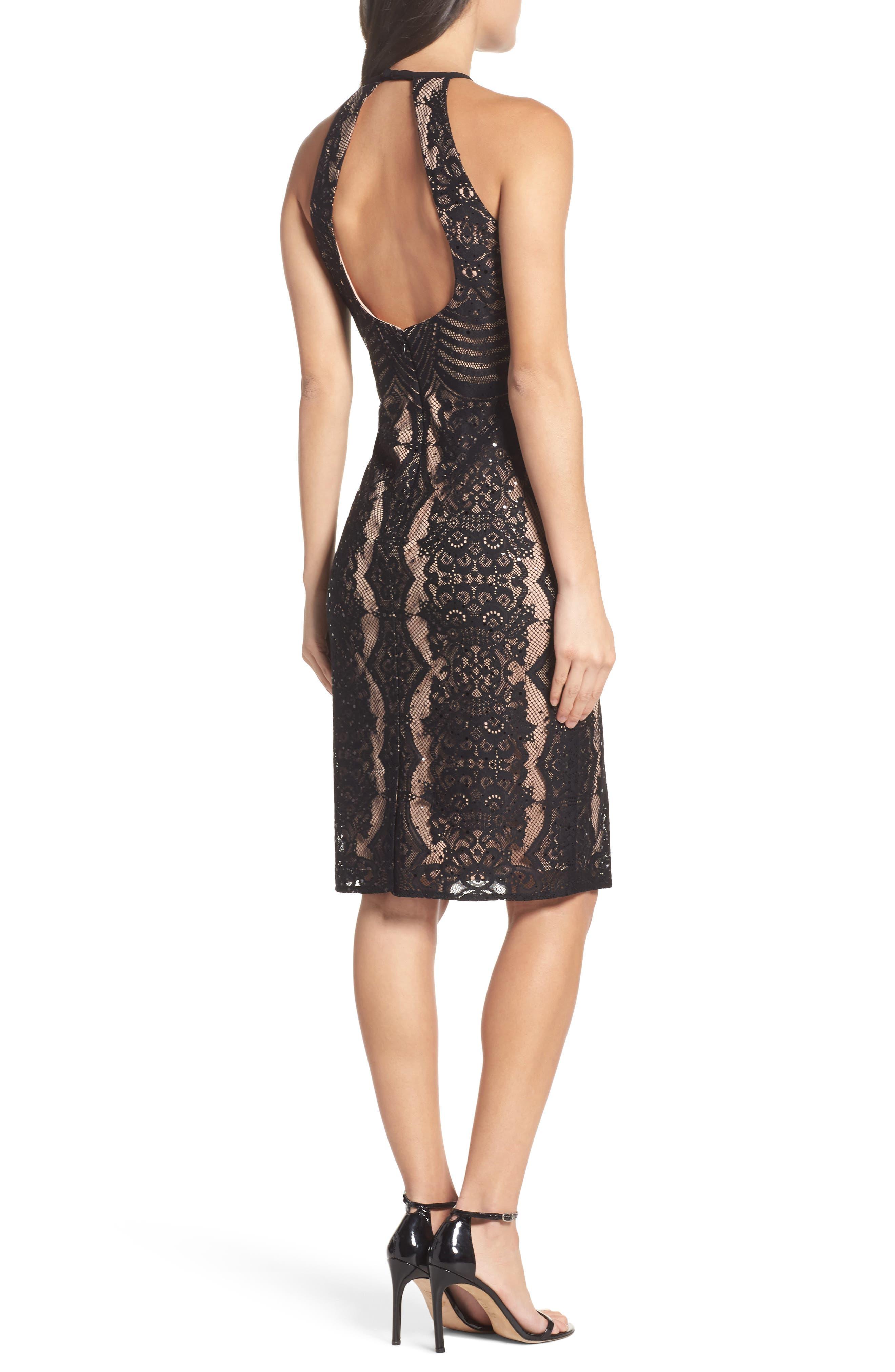 Lace Halter Sheath Dress,                             Alternate thumbnail 2, color,                             018