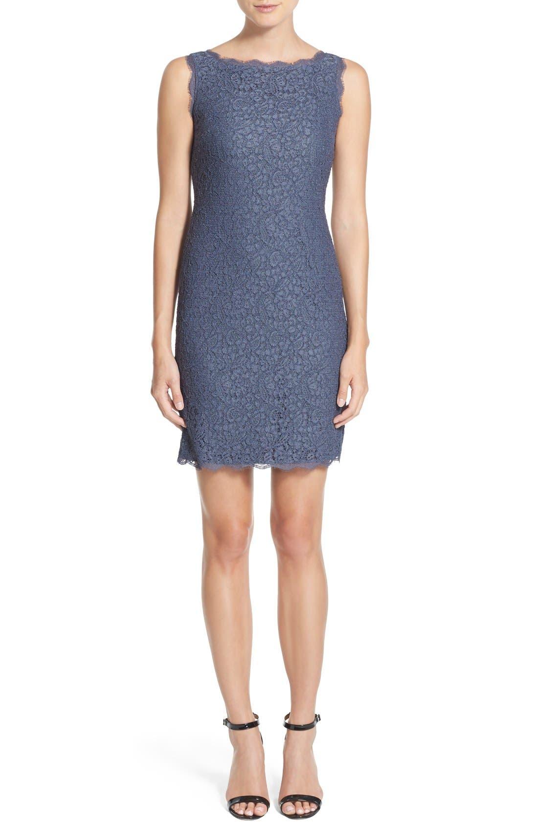 Boatneck Lace Sheath Dress,                             Alternate thumbnail 41, color,