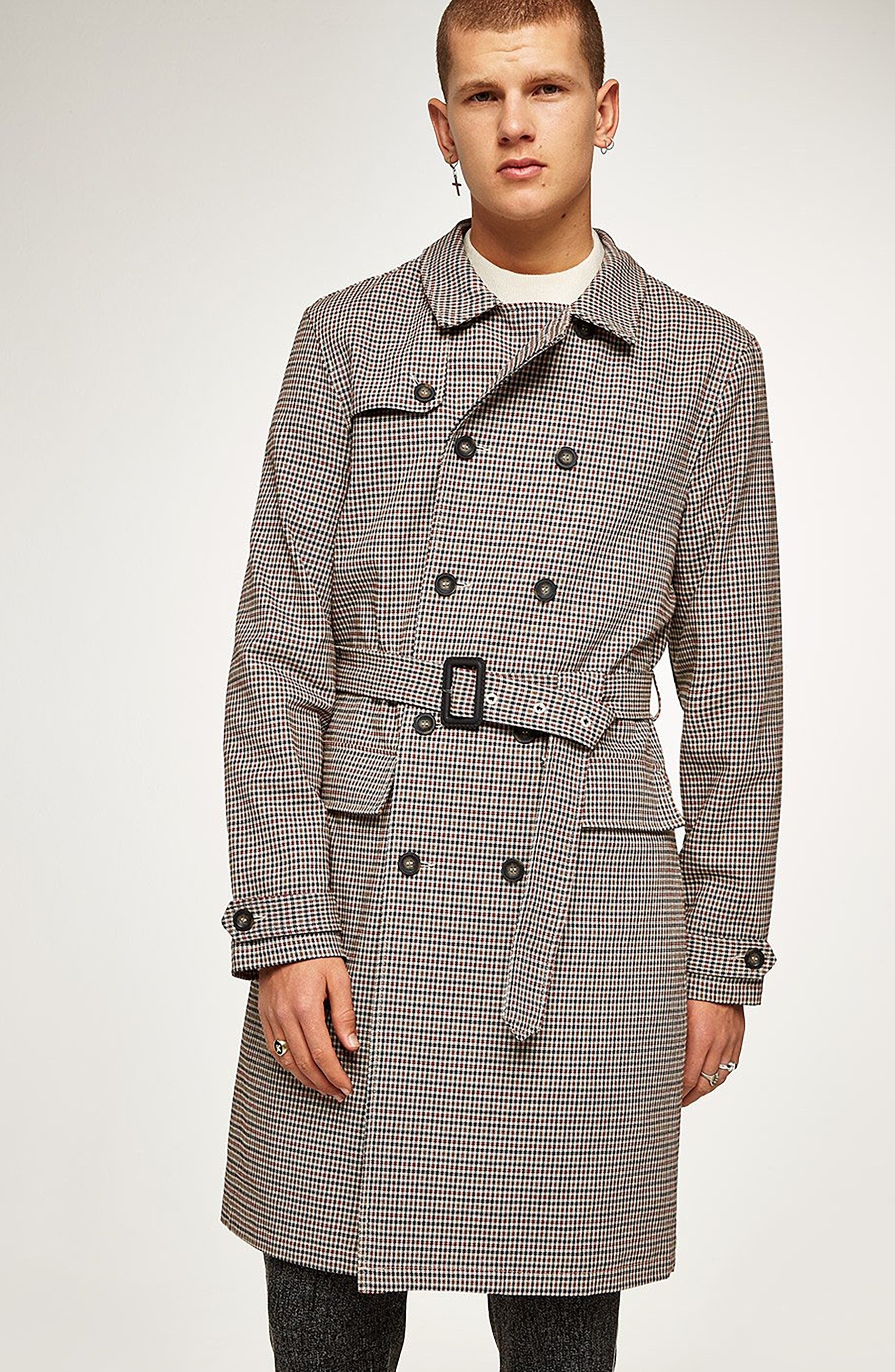 Houndstooth Trench Coat,                             Alternate thumbnail 6, color,                             BROWN MULTI