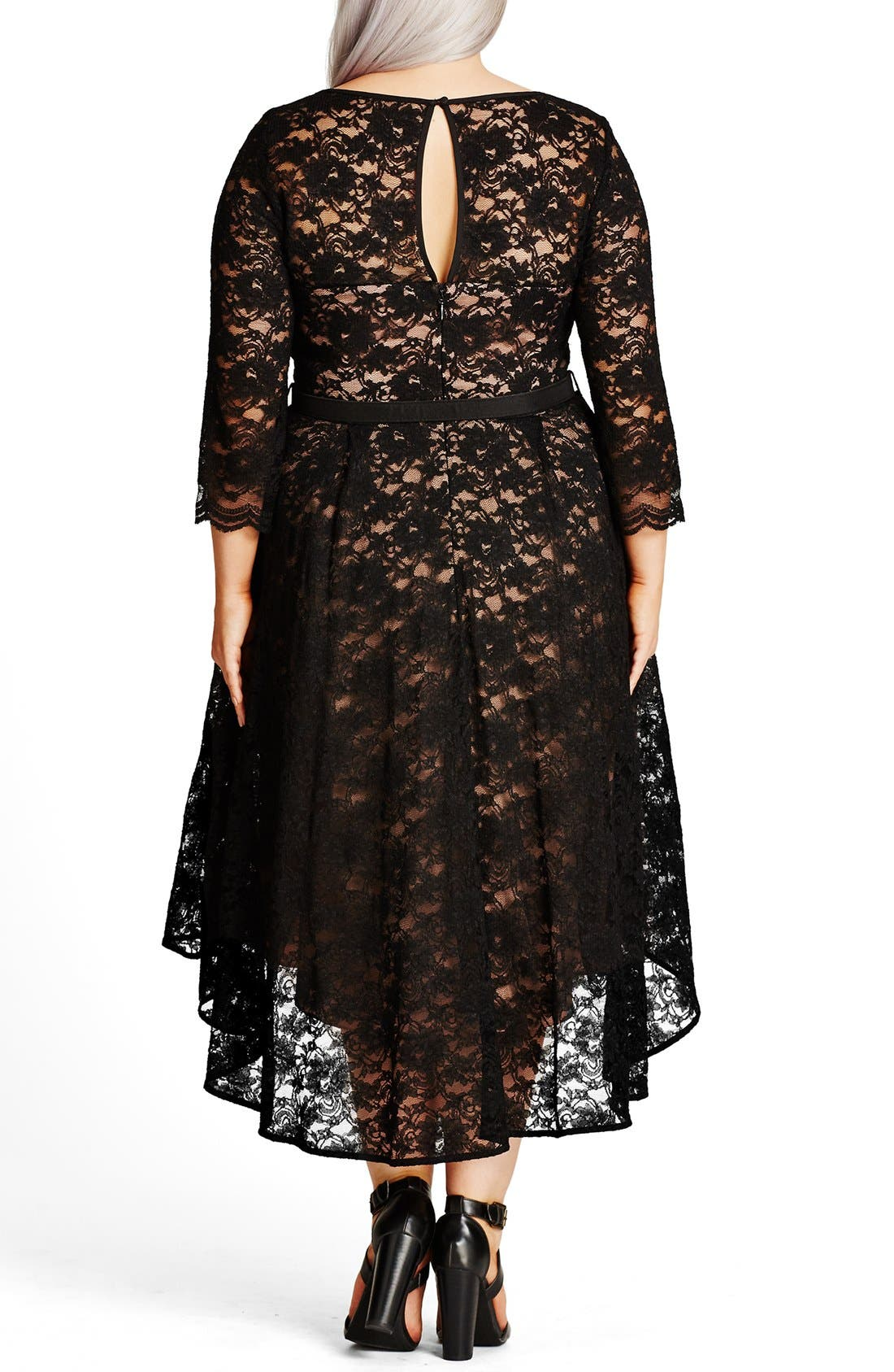 'Lace Lover' High/Low Midi Dress,                             Alternate thumbnail 2, color,                             BLACK