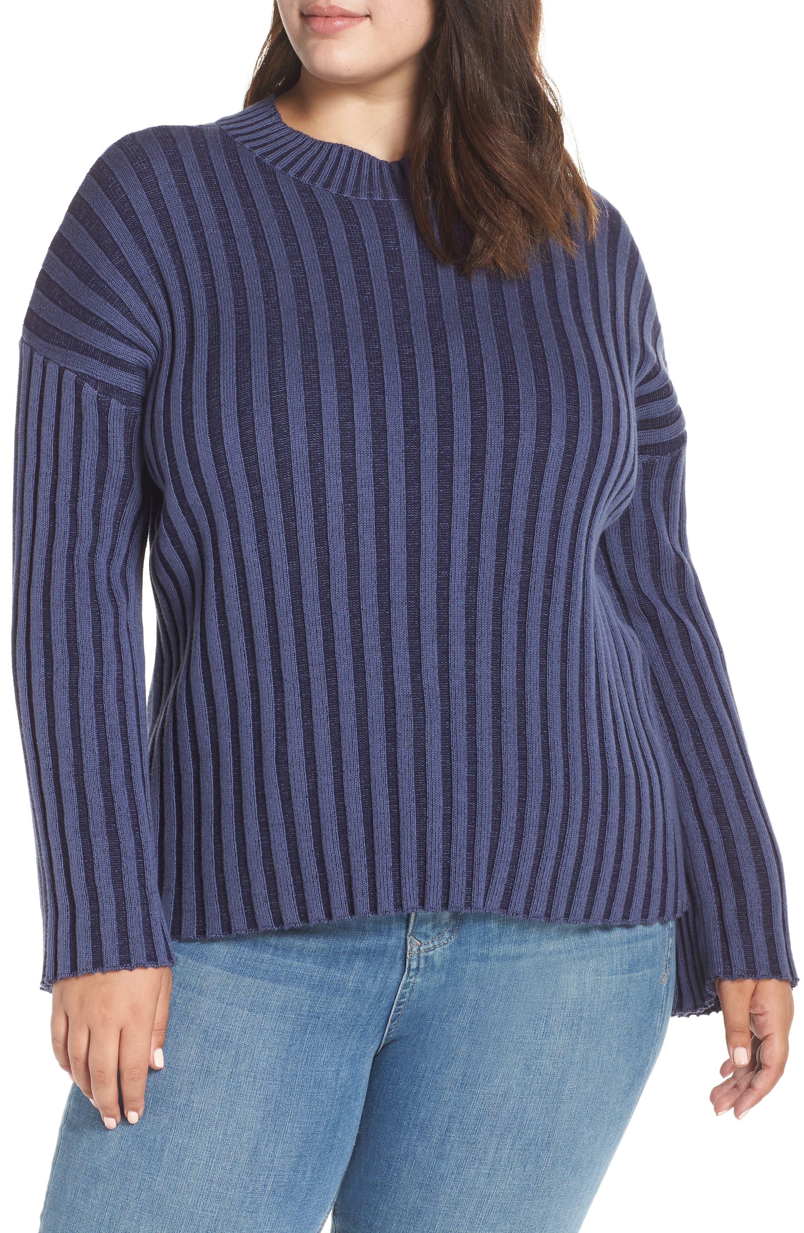 Shadow Rib Crop Sweater,                             Alternate thumbnail 2, color,                             NAVY EVENING