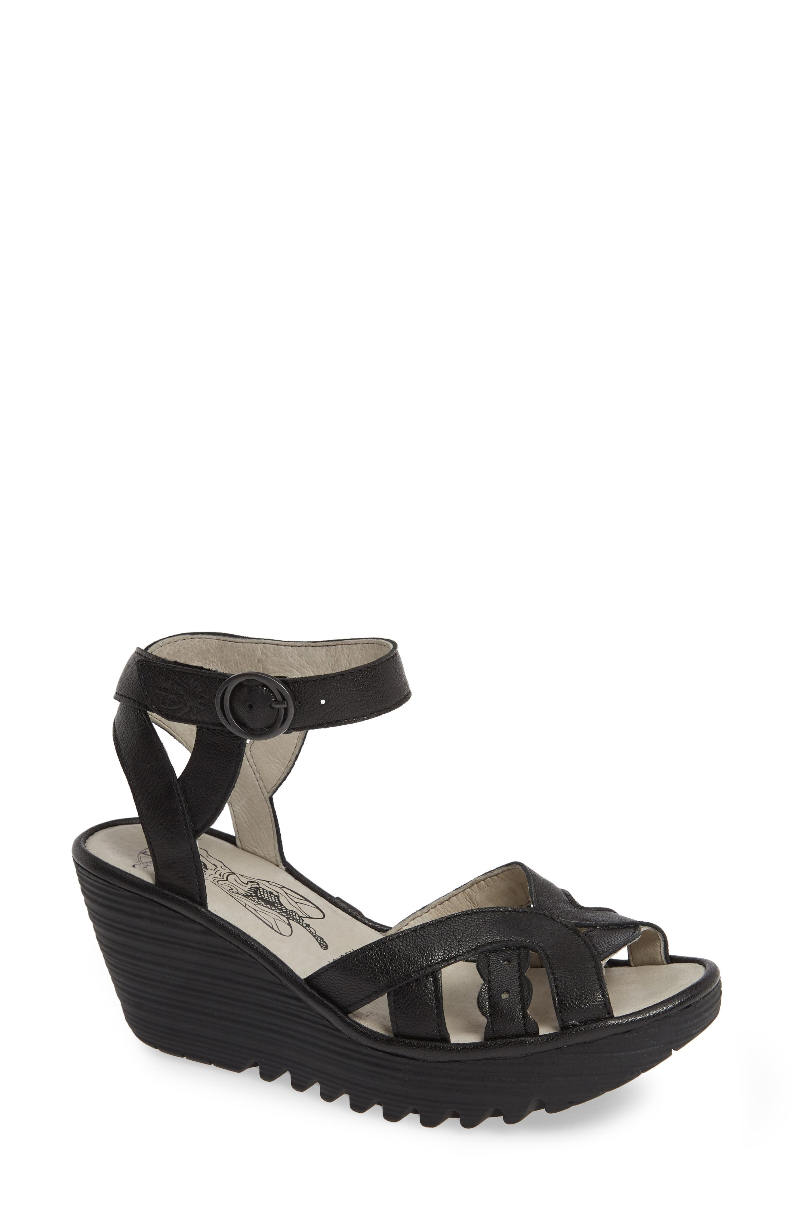 FLY LONDON,                             Yrat Wedge Sandal,                             Main thumbnail 1, color,                             BLACK LEATHER