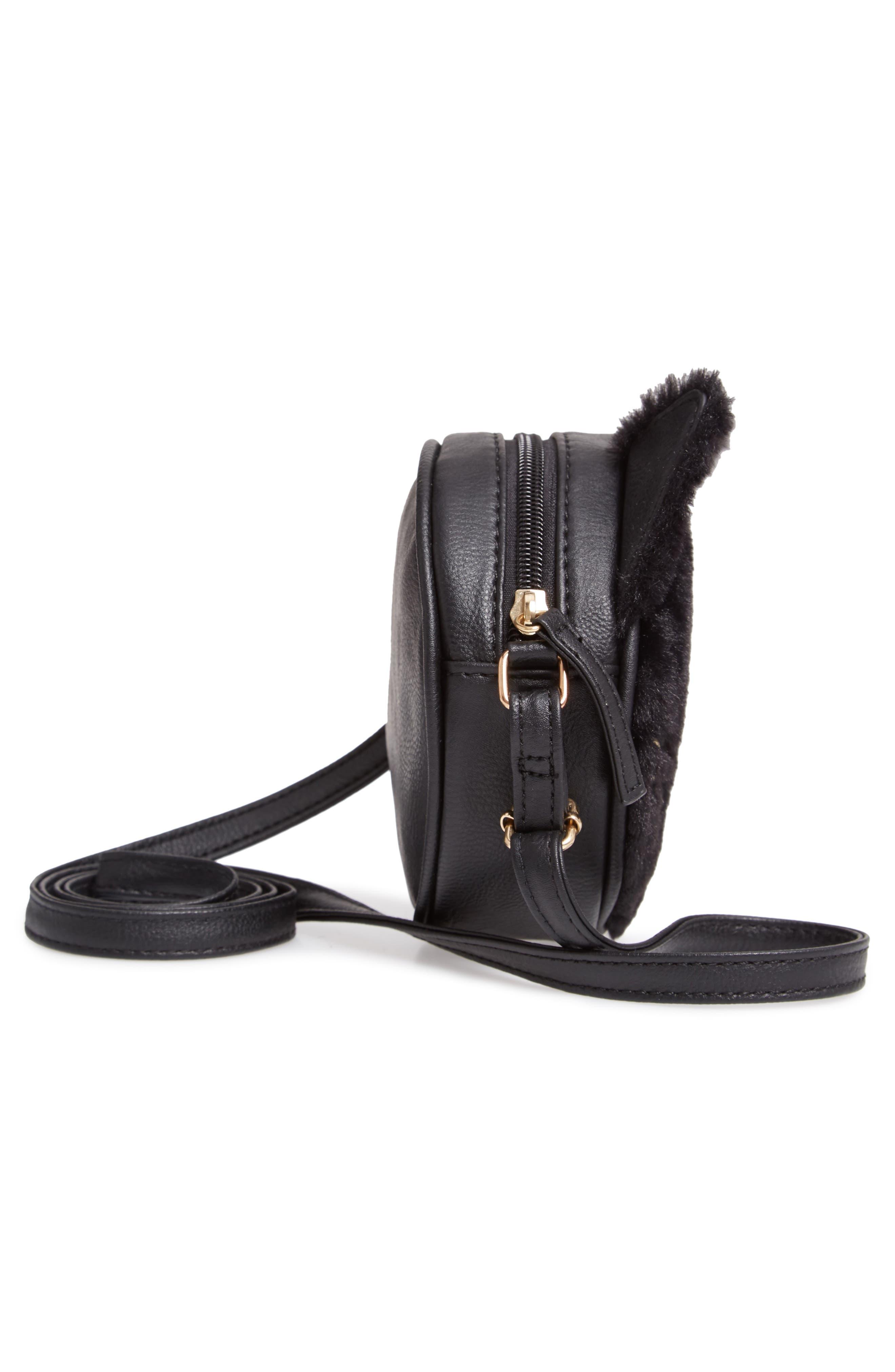 Faux Fur Kitty Crossbody Bag,                             Alternate thumbnail 4, color,                             001