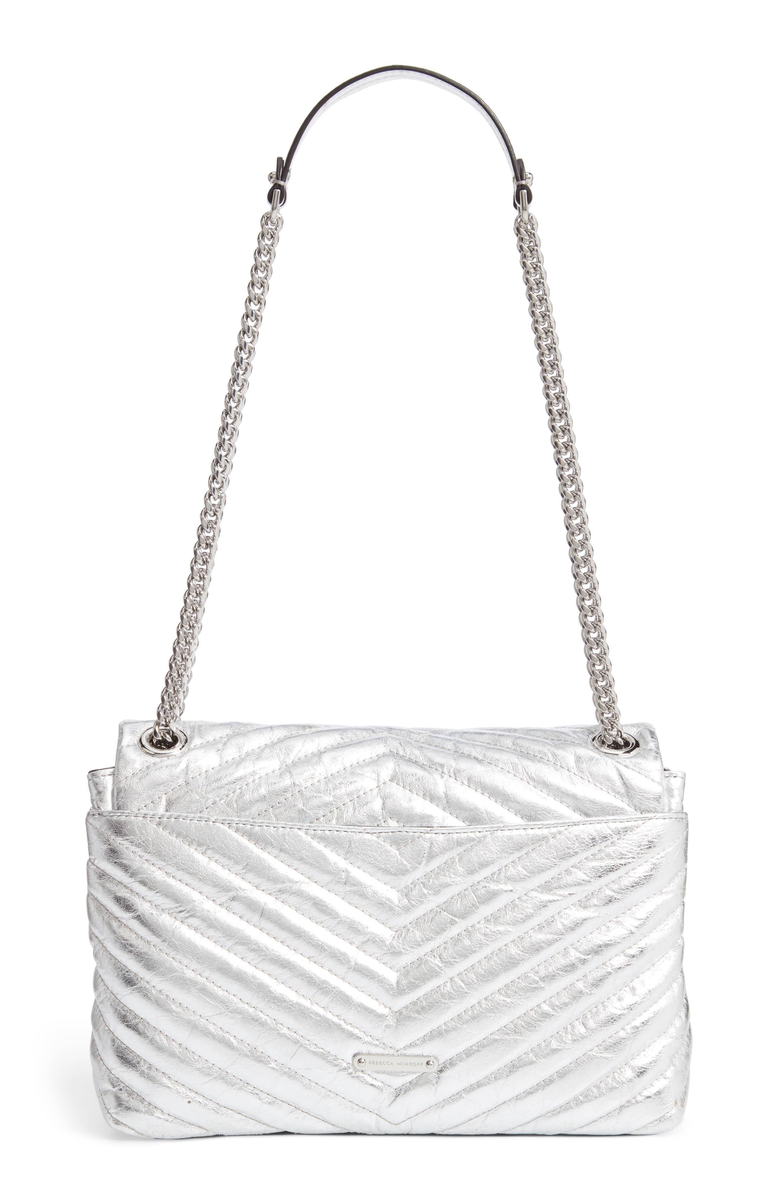 Edie Metallic Leather Shoulder Bag,                             Alternate thumbnail 3, color,                             SILVER