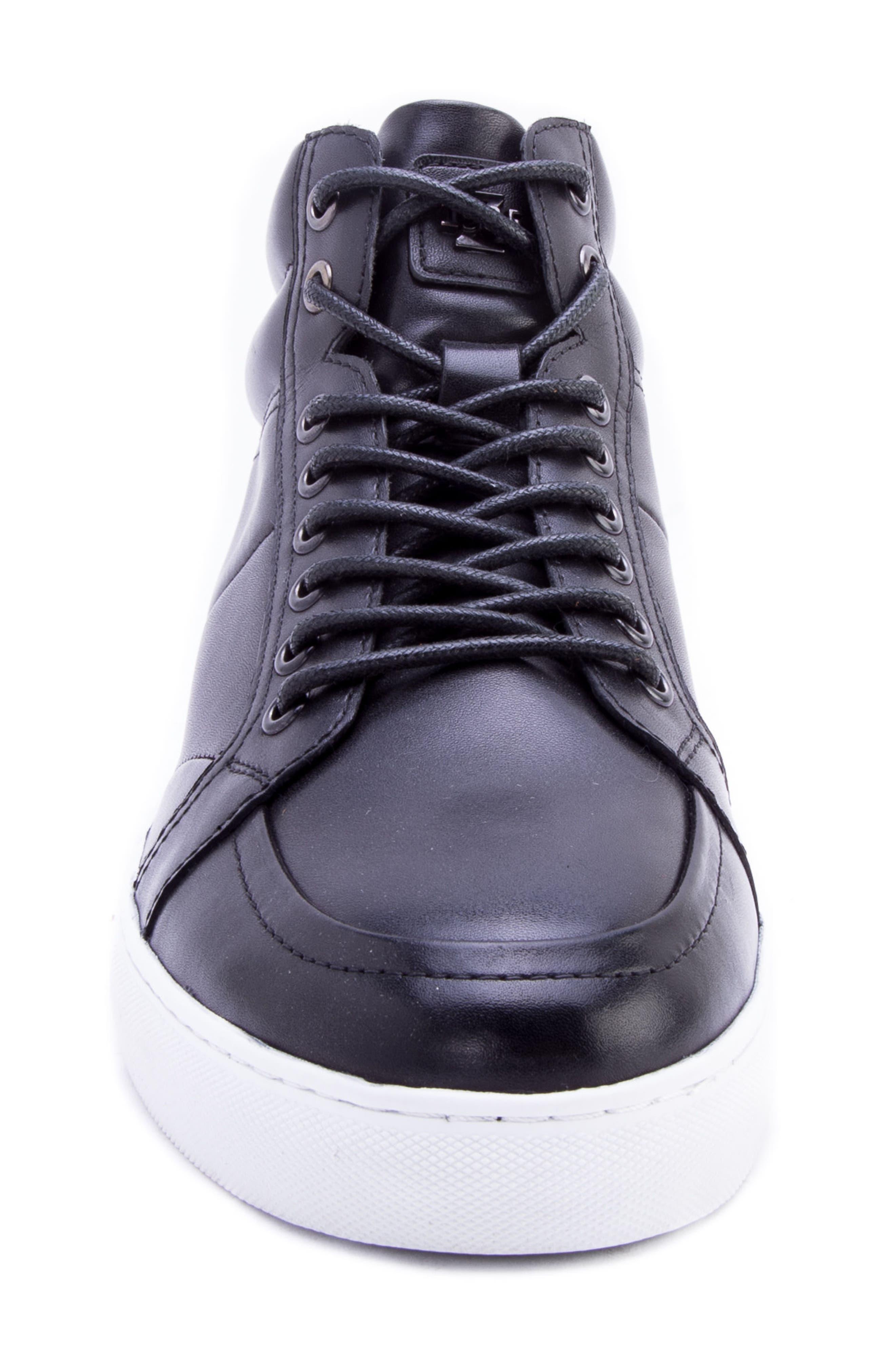 Tassel Mid Top Sneaker,                             Alternate thumbnail 4, color,                             BLACK LEATHER