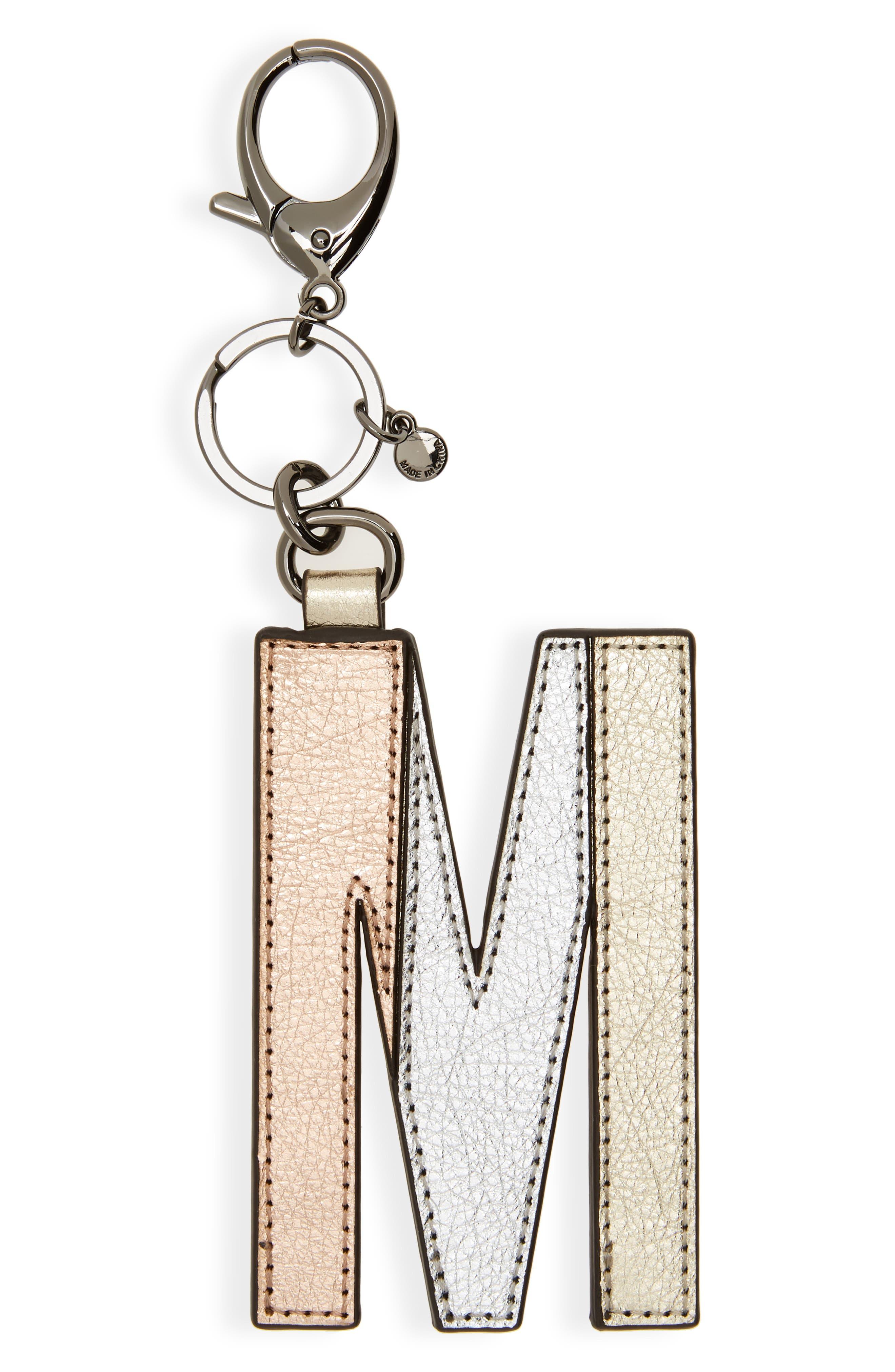 Metallic Leather Letter Bag Charm,                             Main thumbnail 10, color,